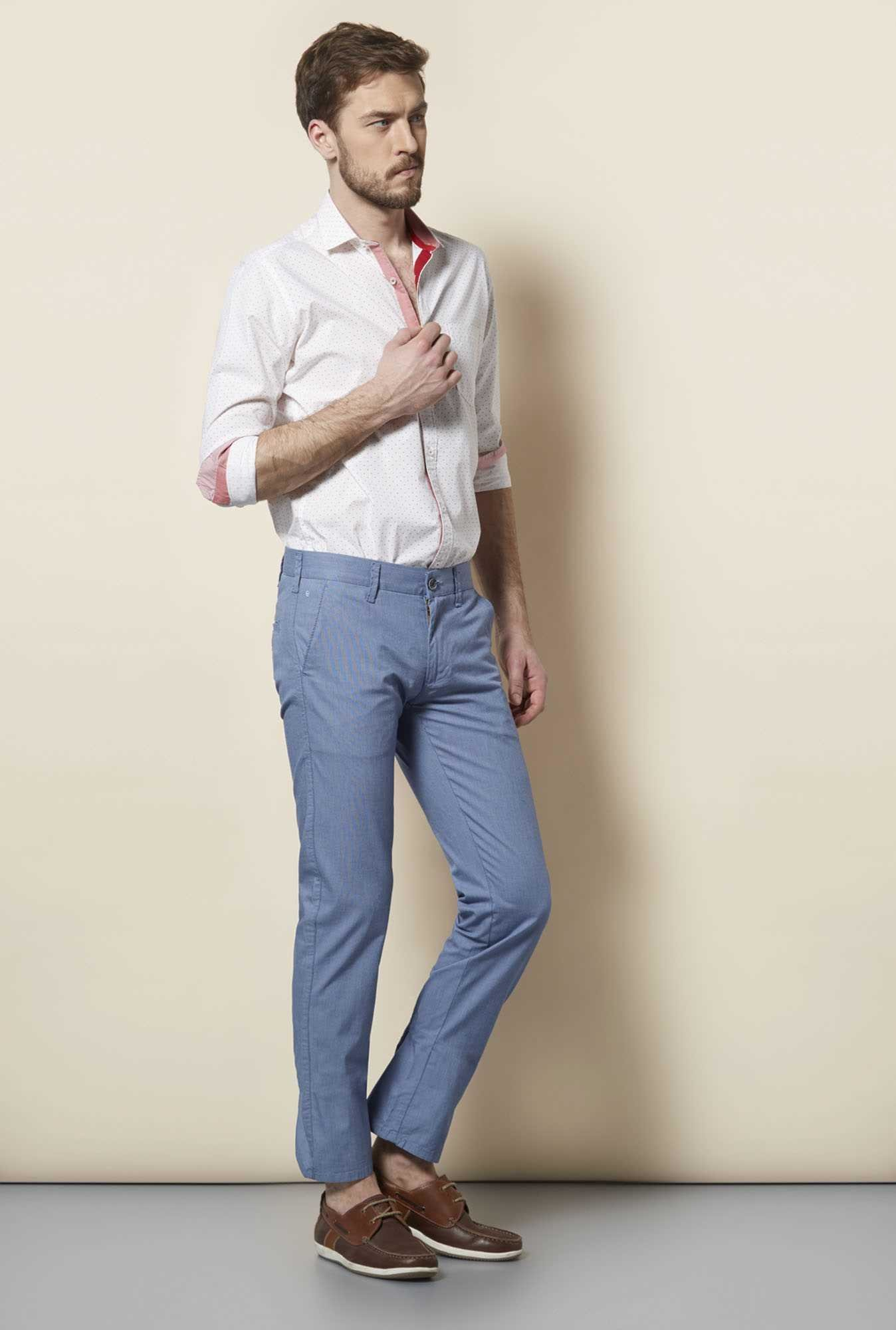Easies Light Blue Slim Fit Trouser