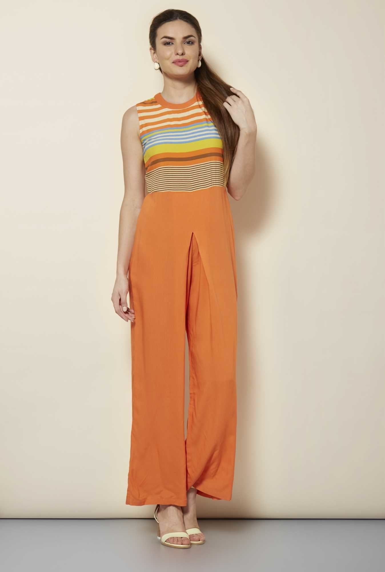 109 F Orange Stripes Jumpsuit
