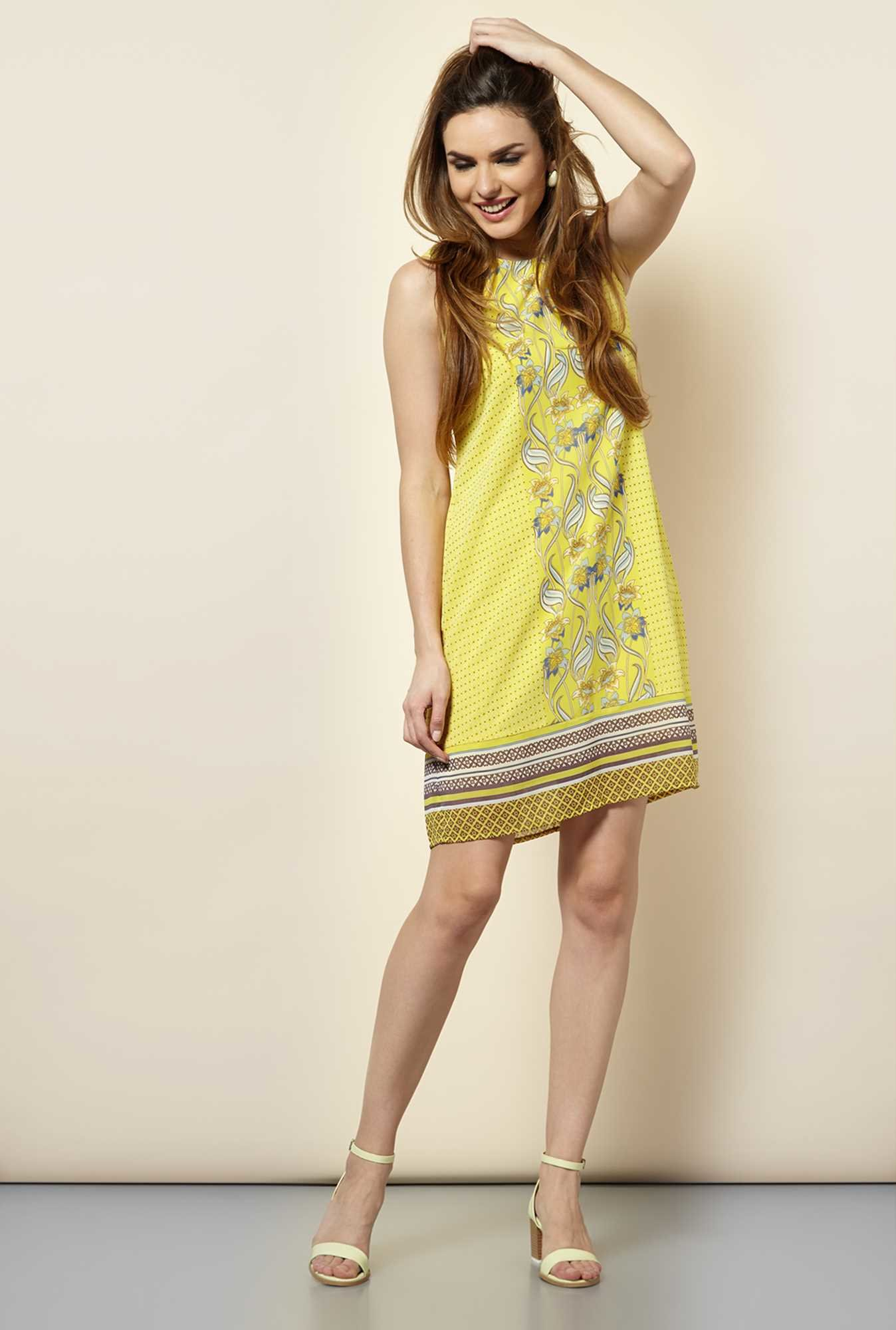 109 F Yellow Print Casual Dress