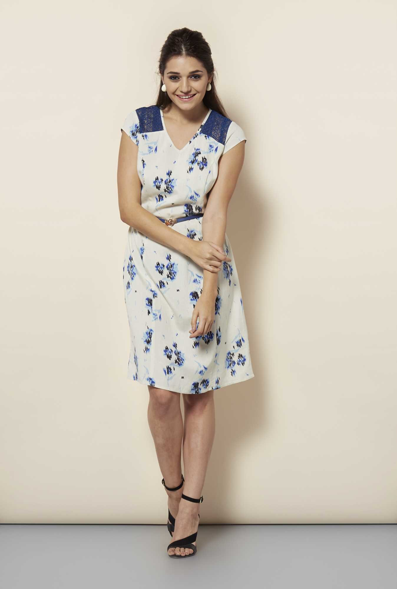 109 F Blue Print Casual Dress