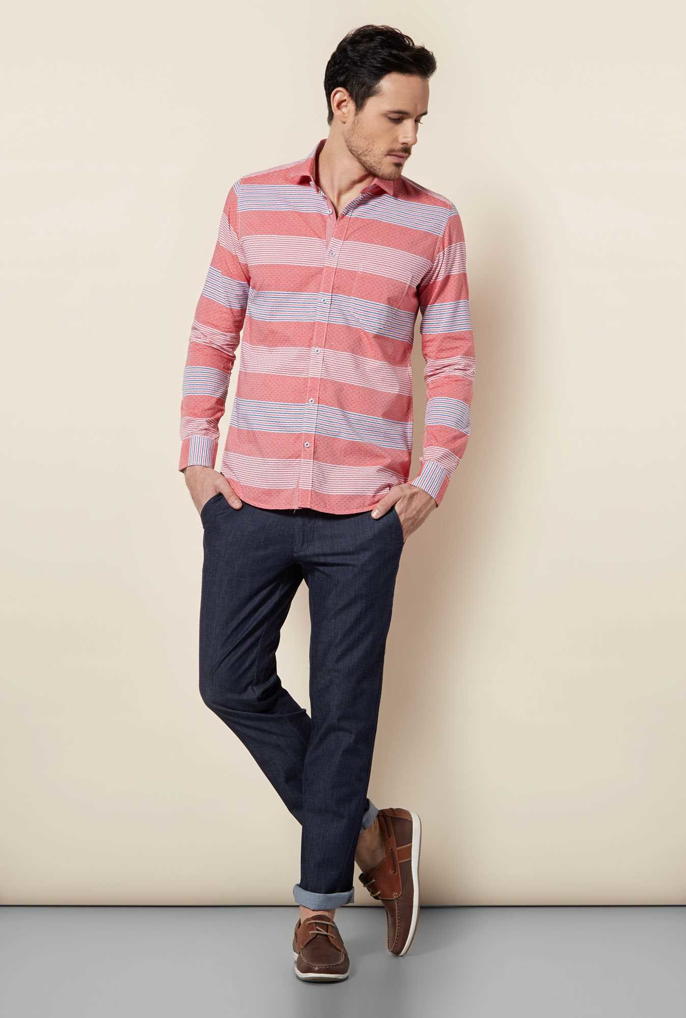 Easies Red Motif Stripe Shirt