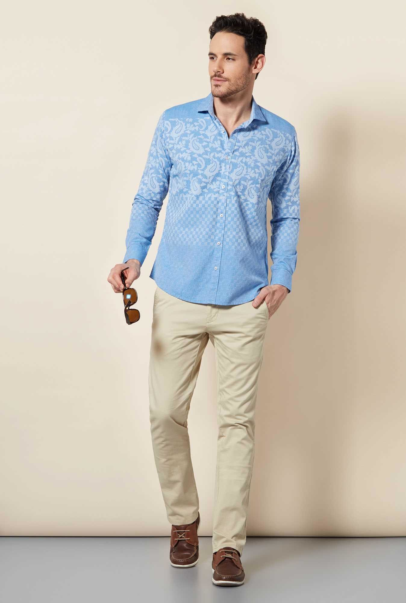 Easies Dusk Blue Paisley Print Shirt