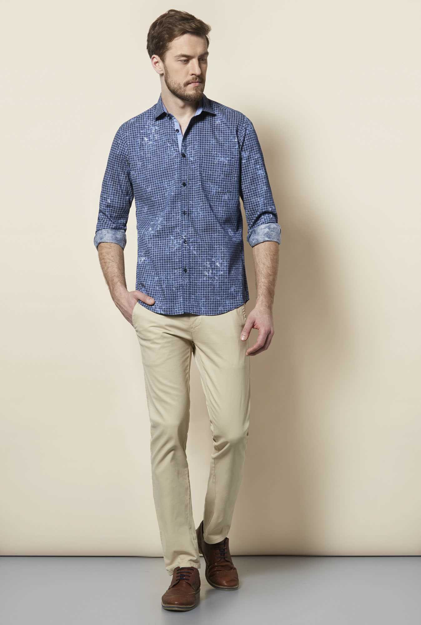 Easies Navy Cosmos Print Shirt