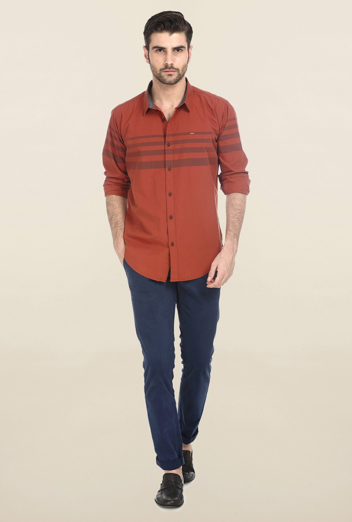 Basics Red Engineering Stripe Shirt
