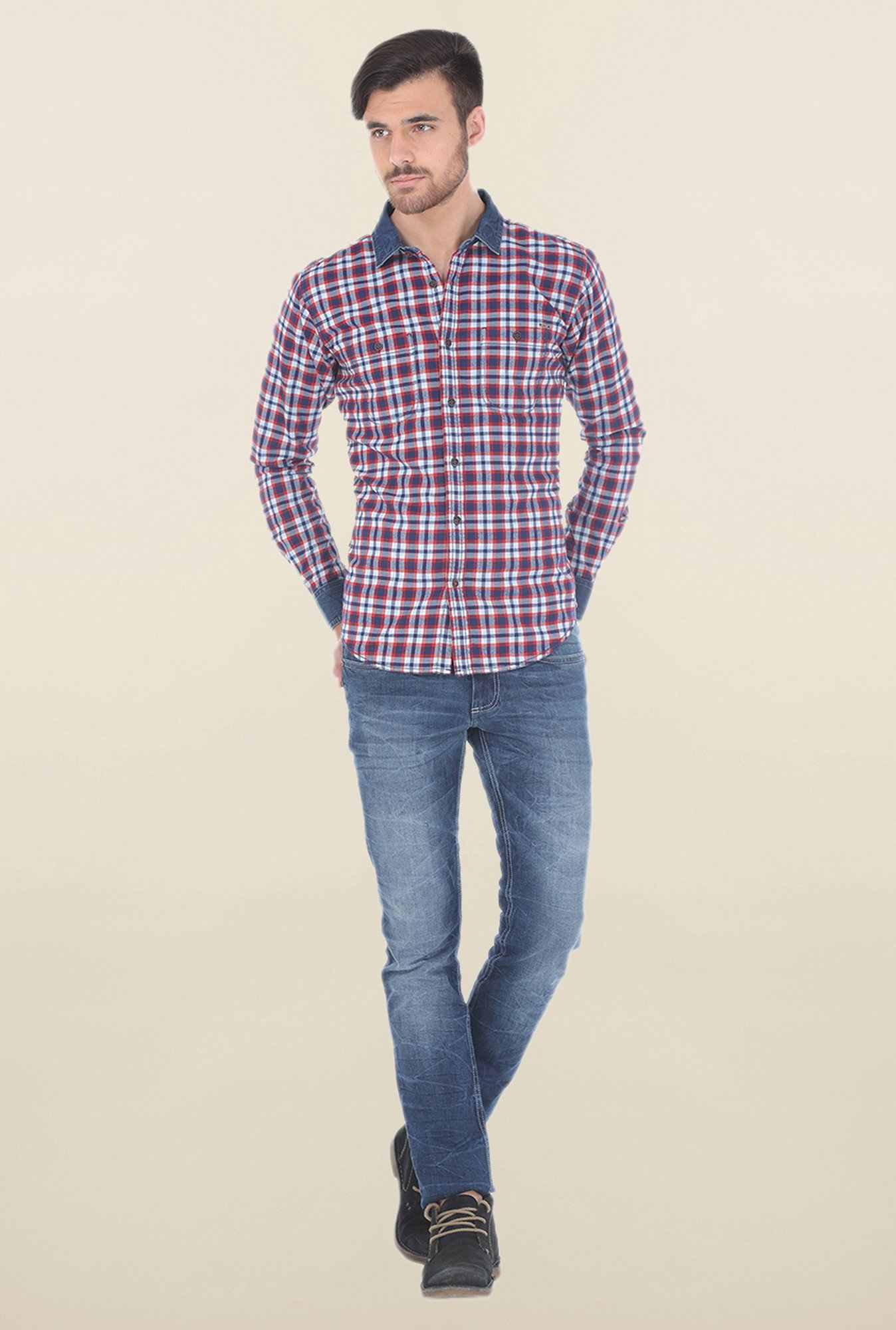 Basics Red Plaid Brushed Cotton Shirt