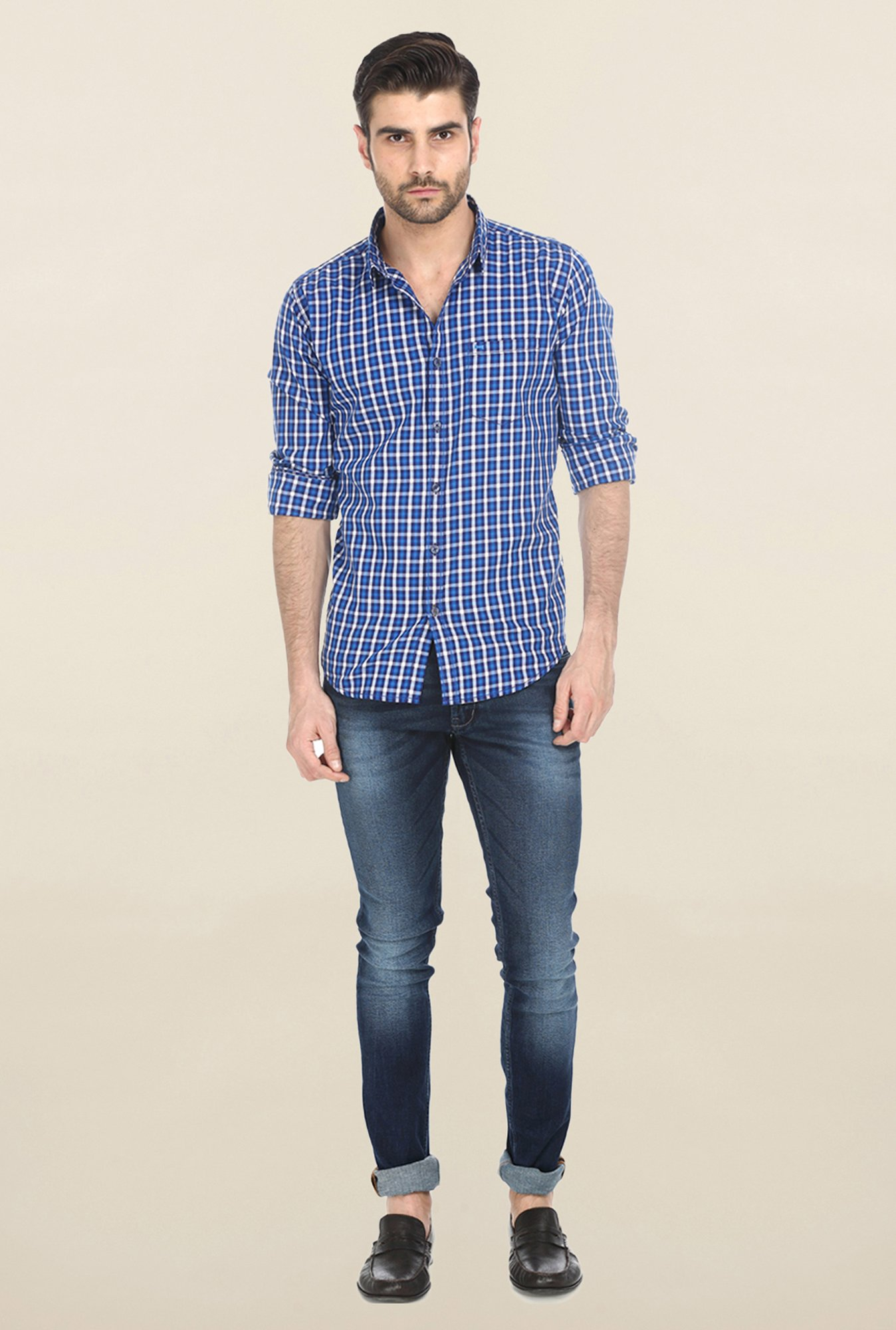 Basics Blue Shepherd Checked Shirt