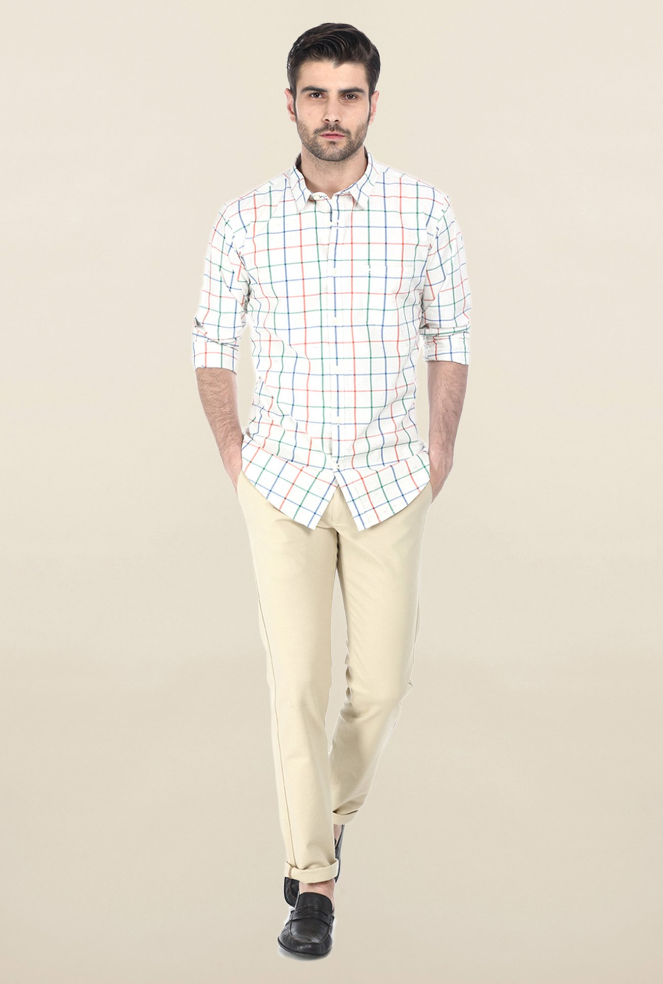 Basics White & Green Windowpane Checked Shirt