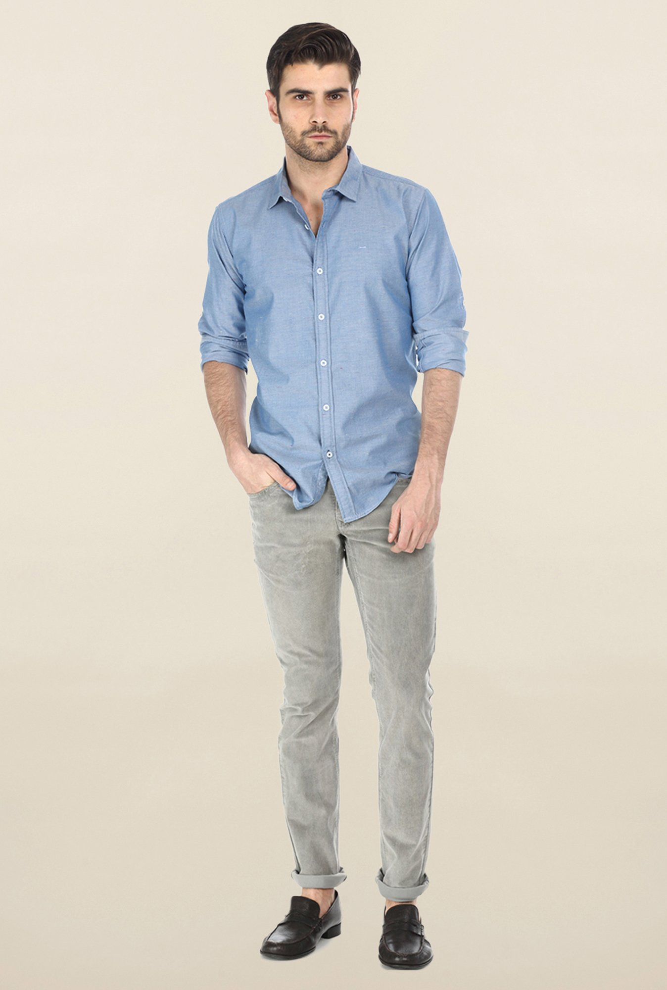 Basics Blue Twill Weave Solid Shirt