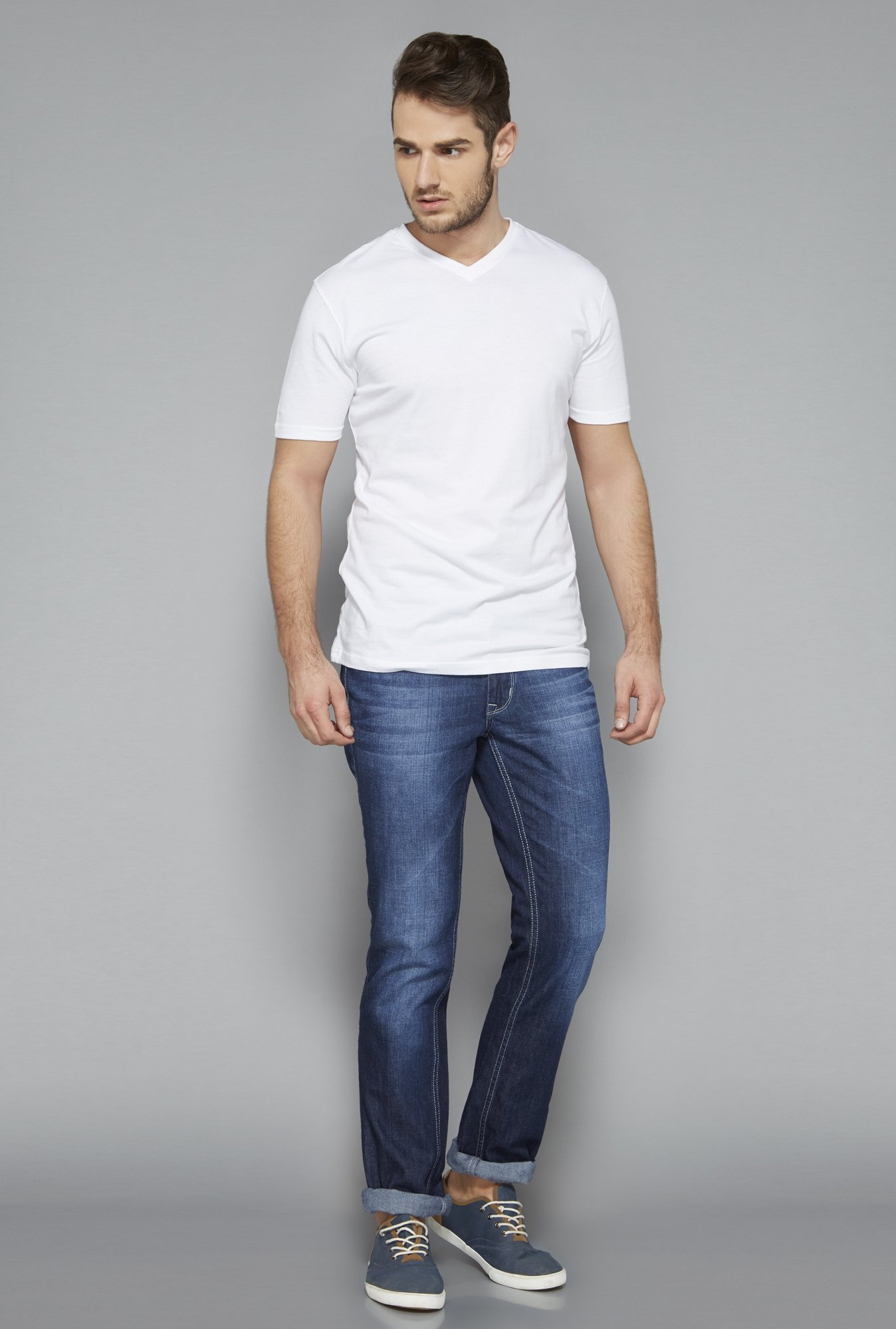 Westsport White V Neck T Shirt