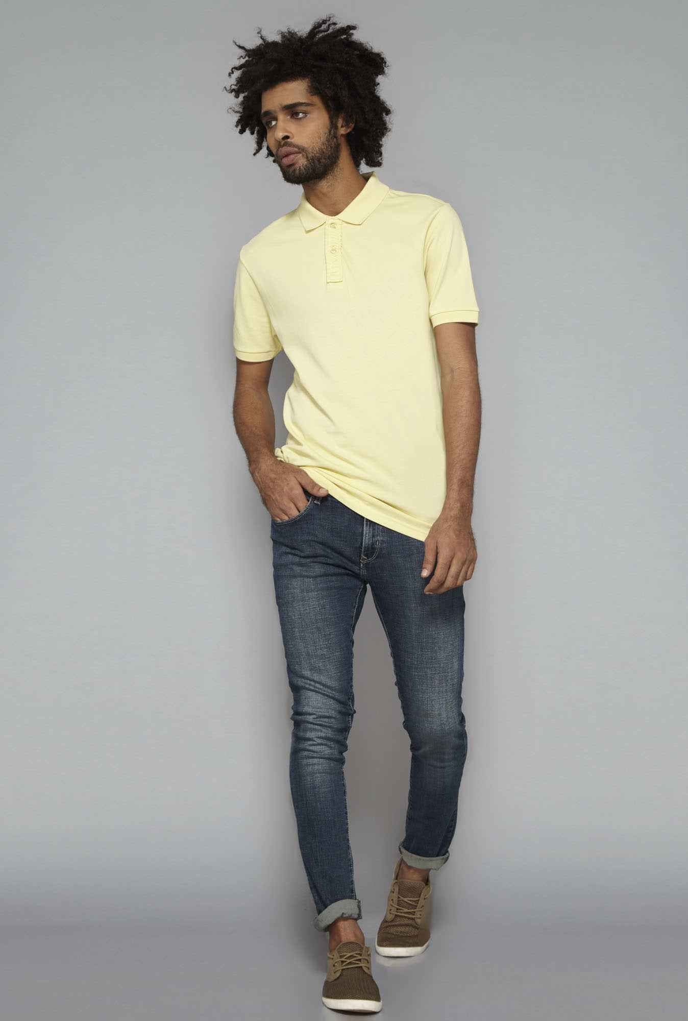 Nuon by Westside Yellow Polo T Shirt