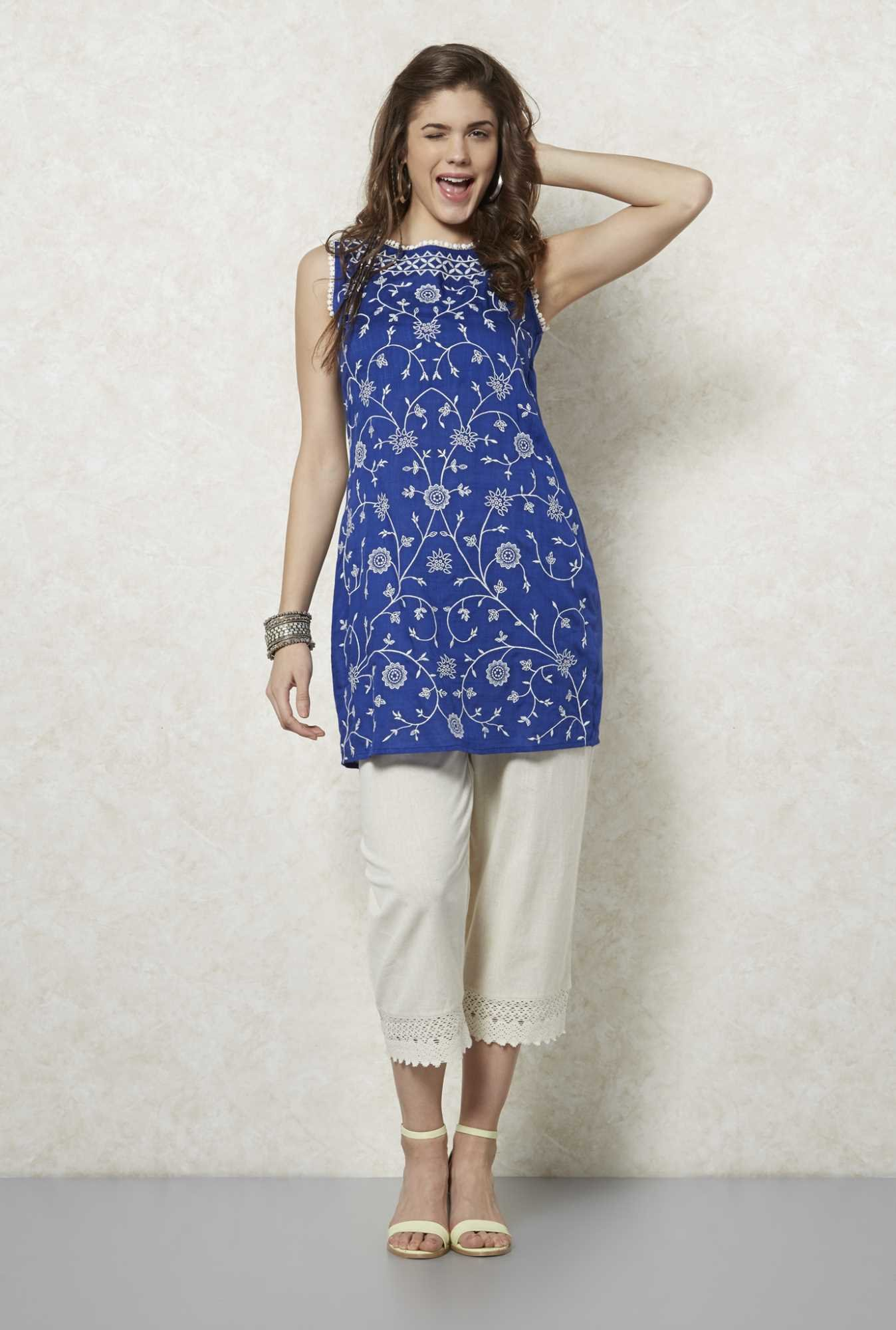 Fusion Beats Indigo Embroidered Kurta