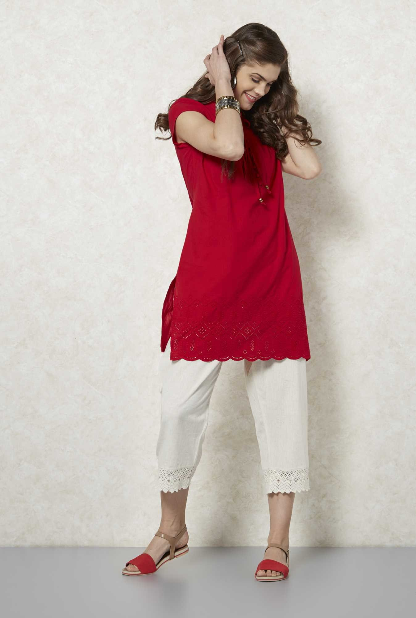 Fusion Beats Red Pintuck Design Kurta