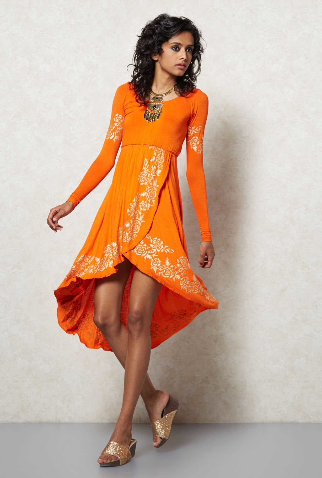 Ira Soleil Orange Tulip Shaped Kurta Dress