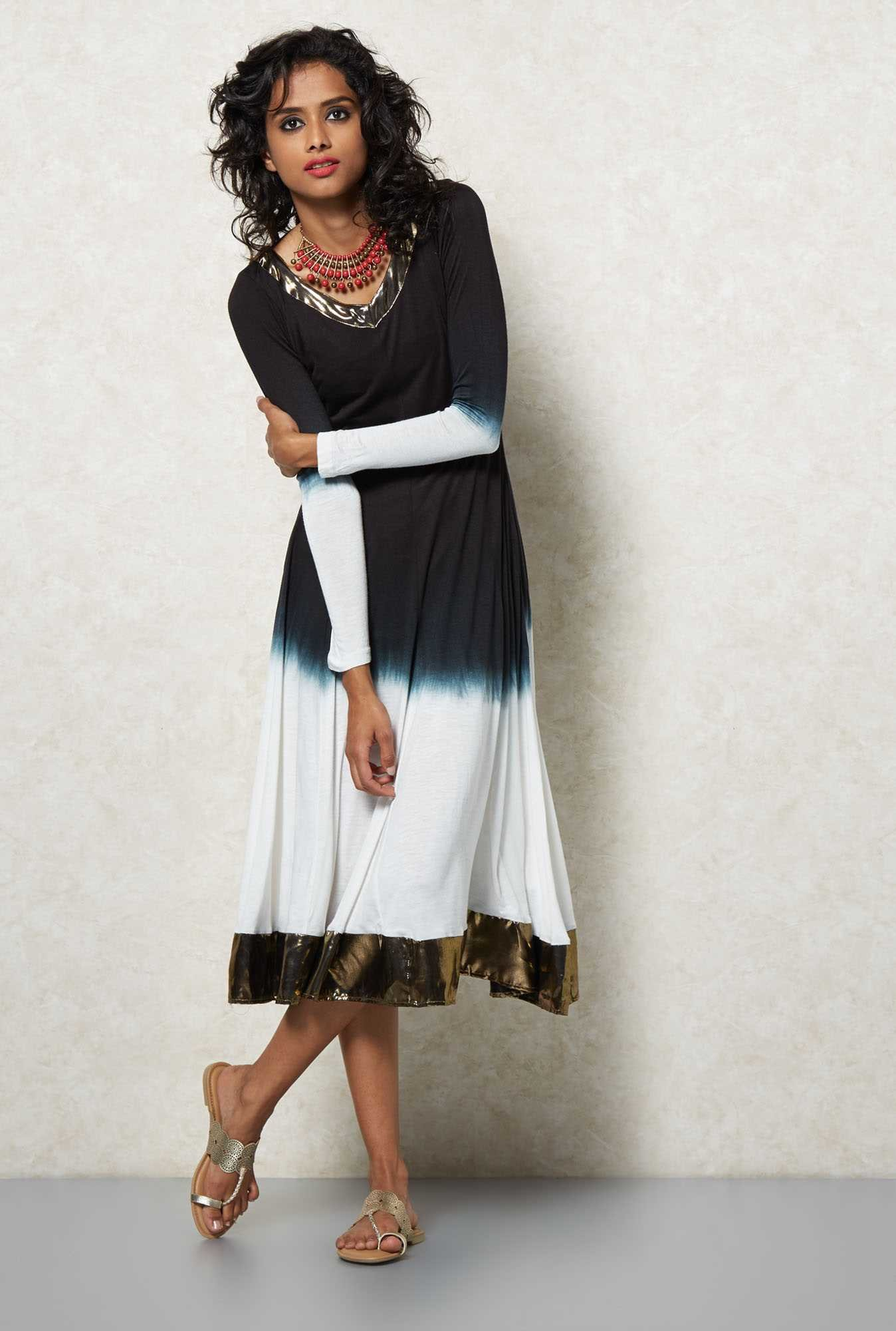Ira Soleil Black Dip Dyed Anarkali Kurta Dress