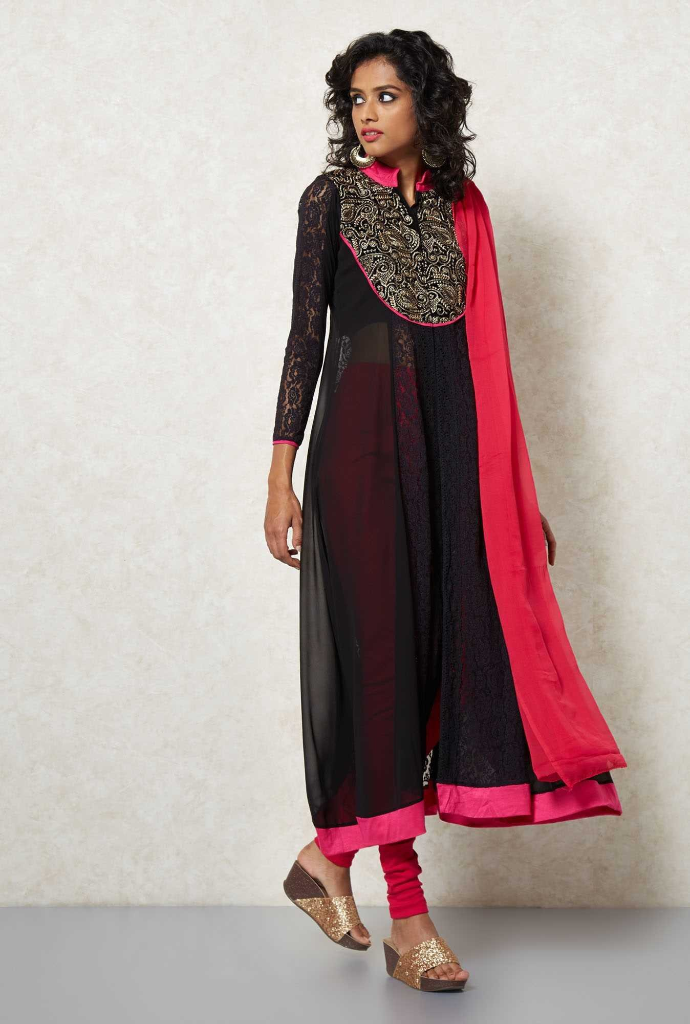 Ira Soleil Black Embroidered Anarkali Set