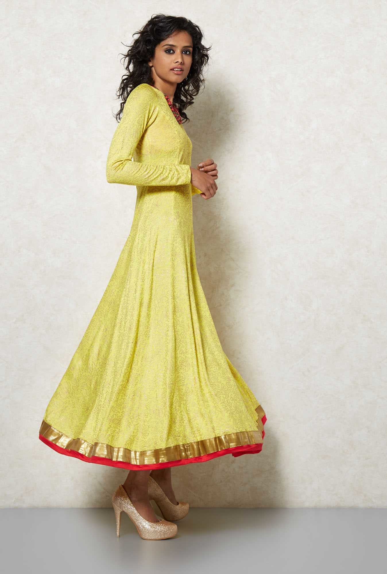Ira Soleil Yellow Printed Anarkali Set