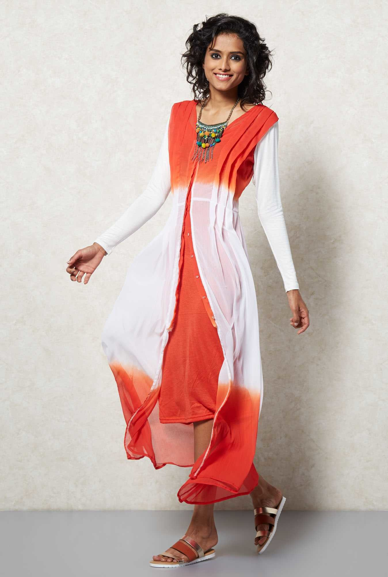 Ira Soleil Orange Dip Dyed Kurti Set