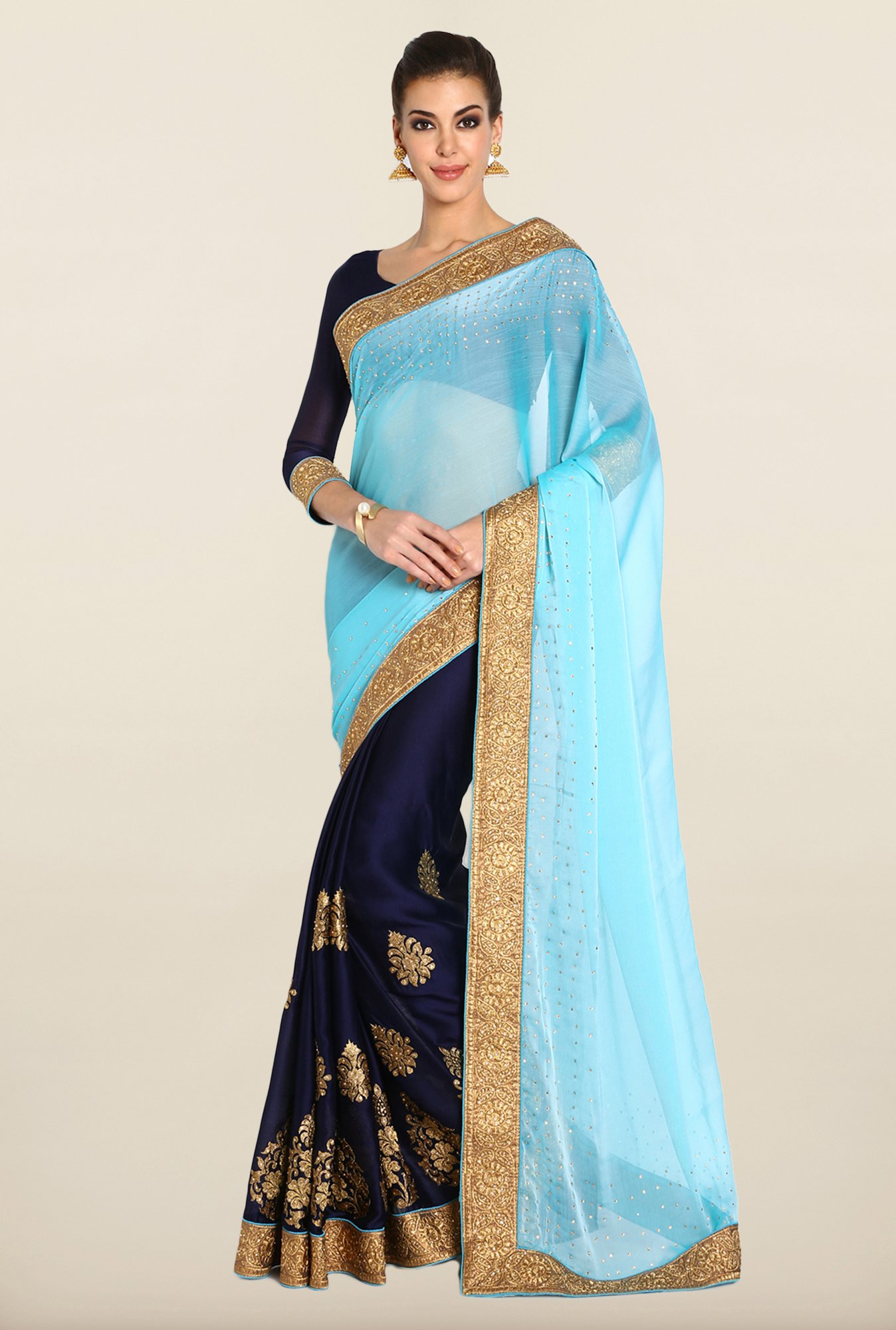 Soch Sky Blue Zari Embroidered Saree