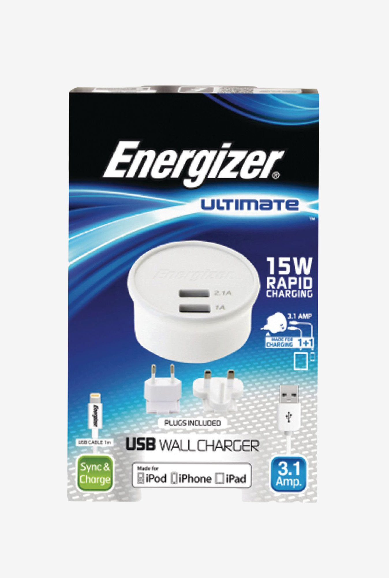 Energizer Ultimate AC2UUNUIP5 iphone5 Wall Charger White