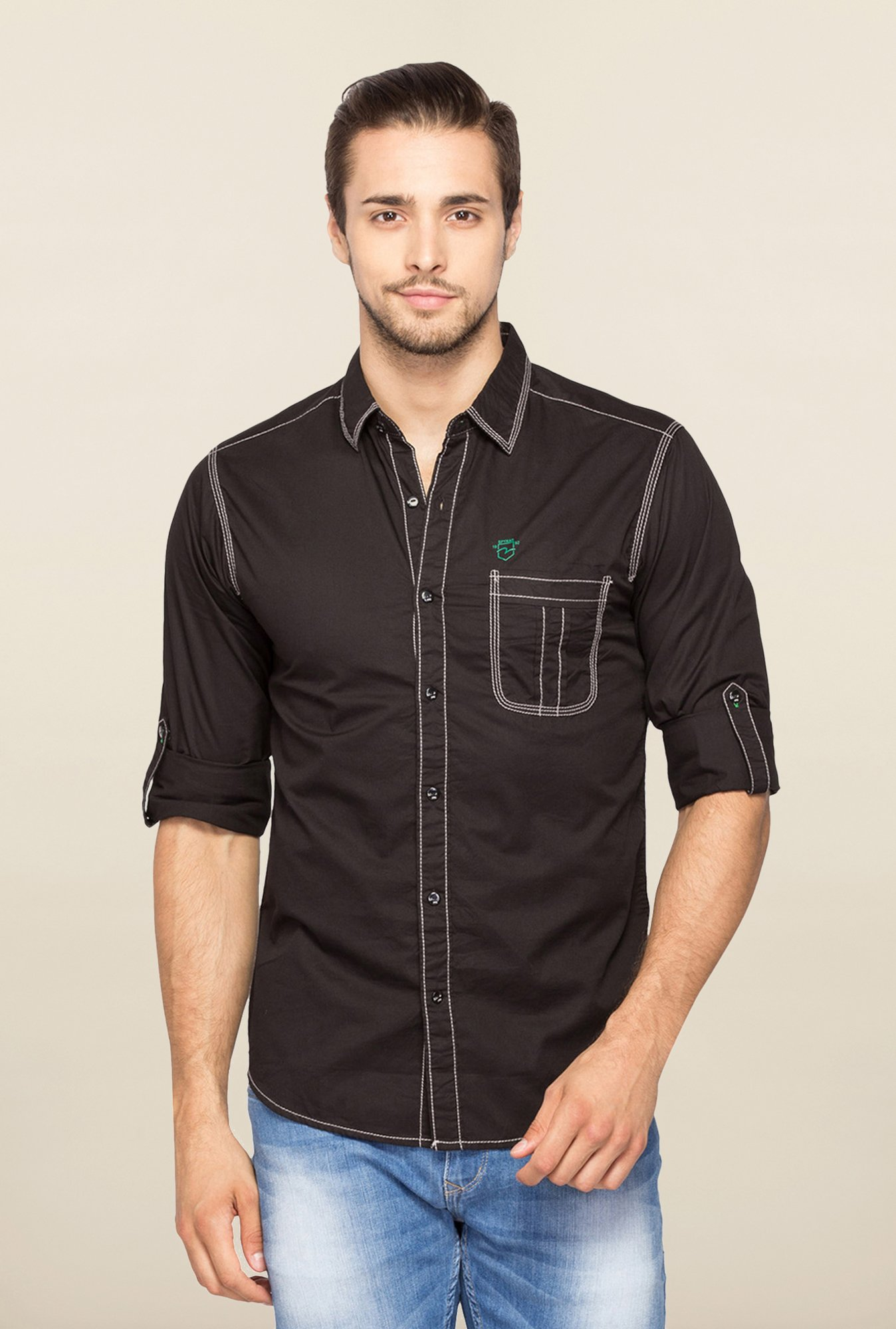 Spykar Black Ranger Solid Slim Fit Shirt