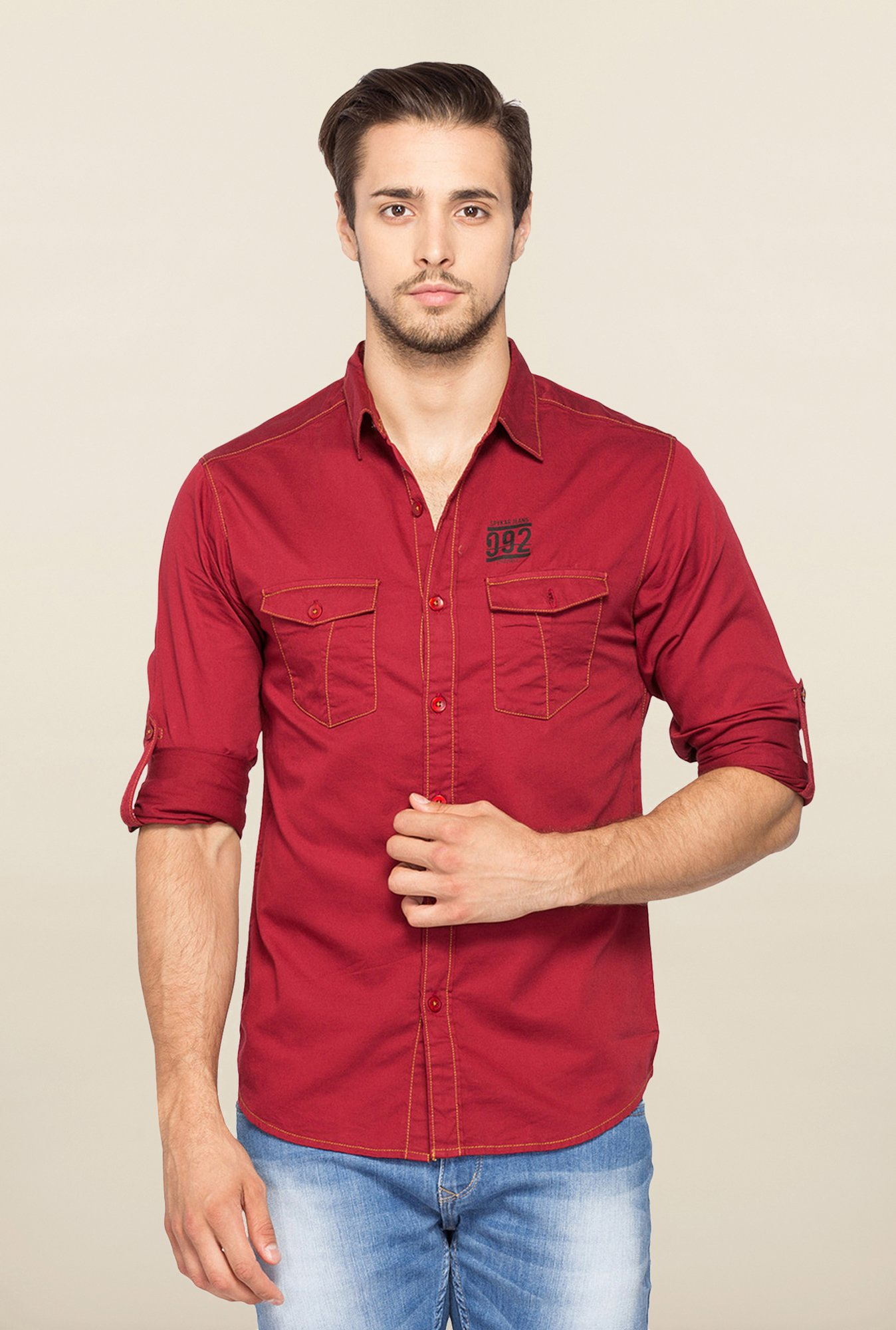 Spykar Red Ranger Full Sleeves Casual Shirt