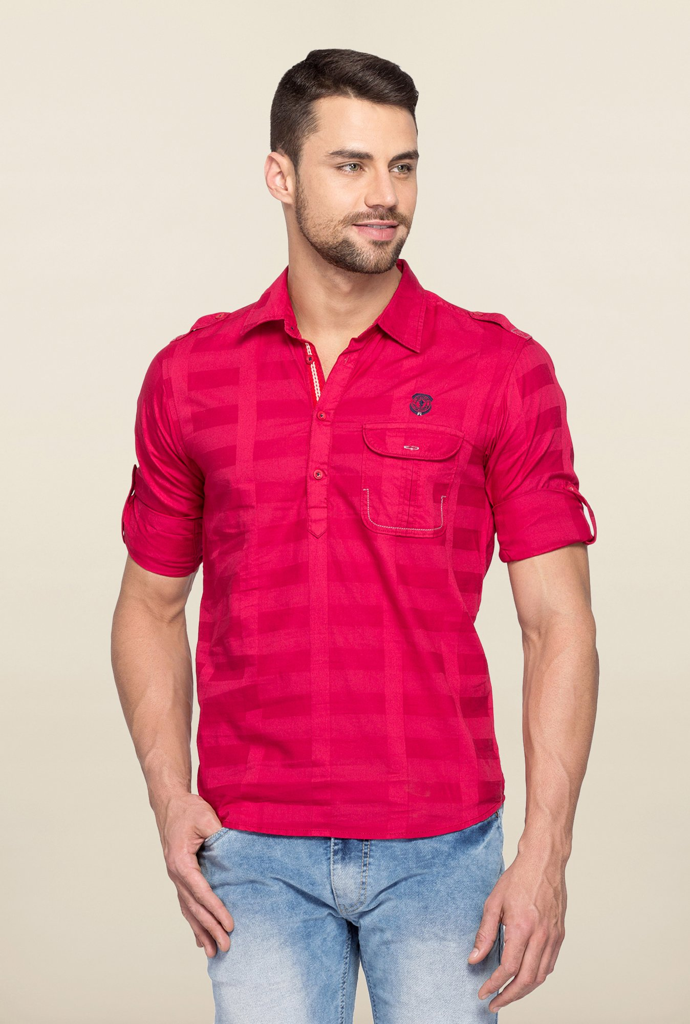 Spykar Red Ranger Checks Slim Fit Shirt