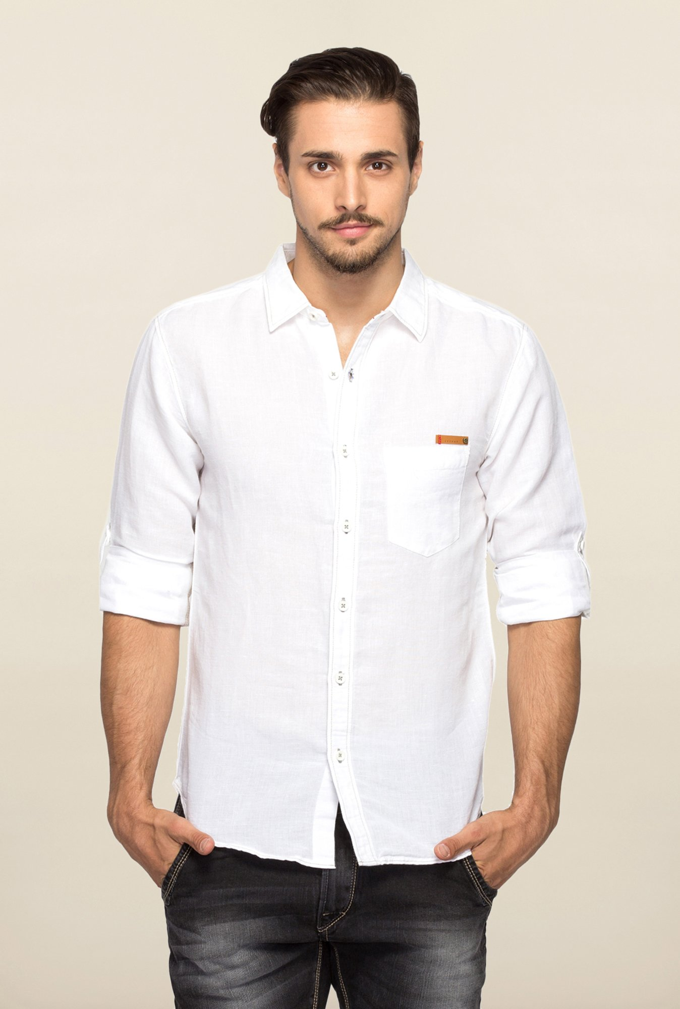 Spykar White Ranger Slim Fit Solid Shirt