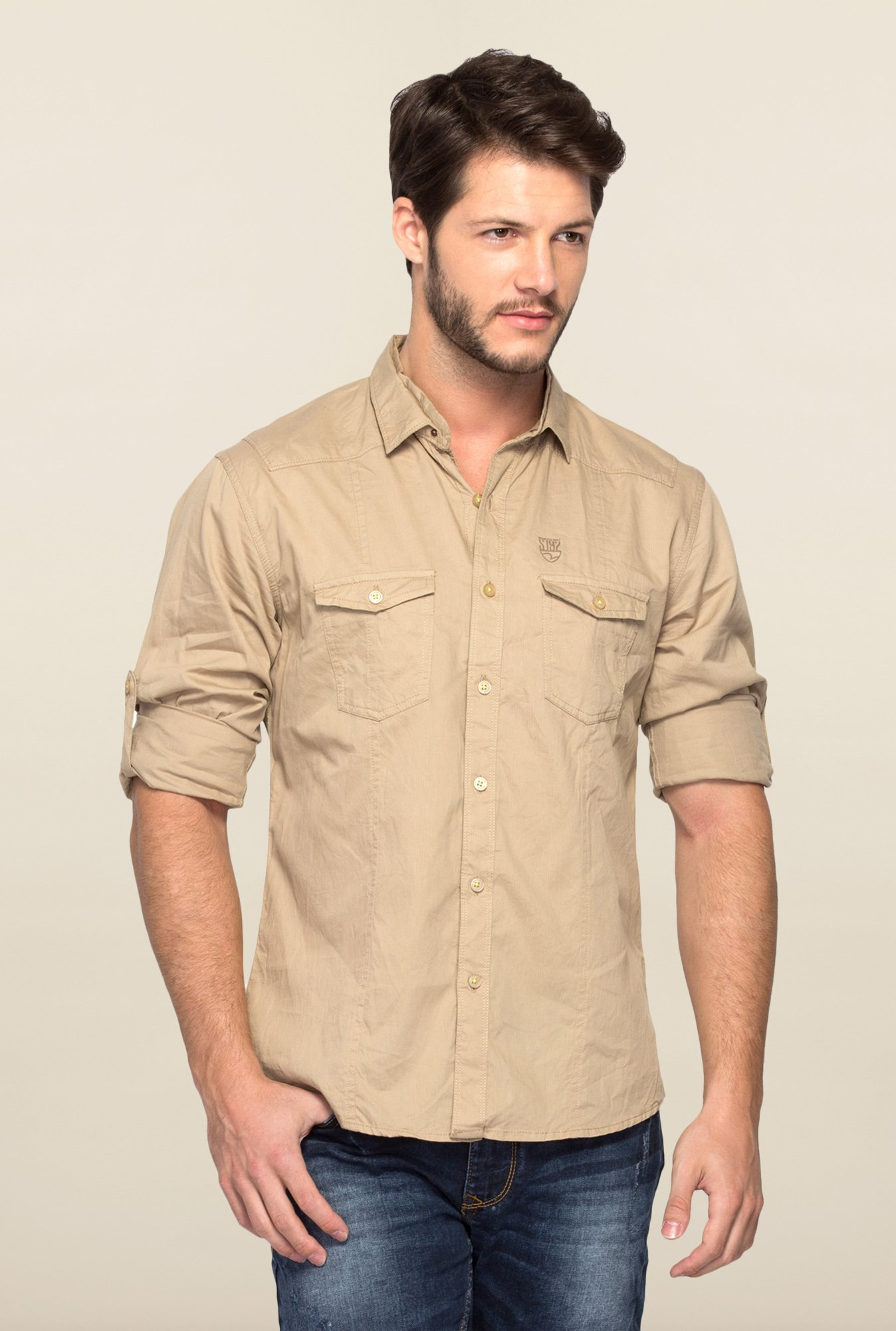 Spykar Beige Ranger Cotton Slim Fit Shirt