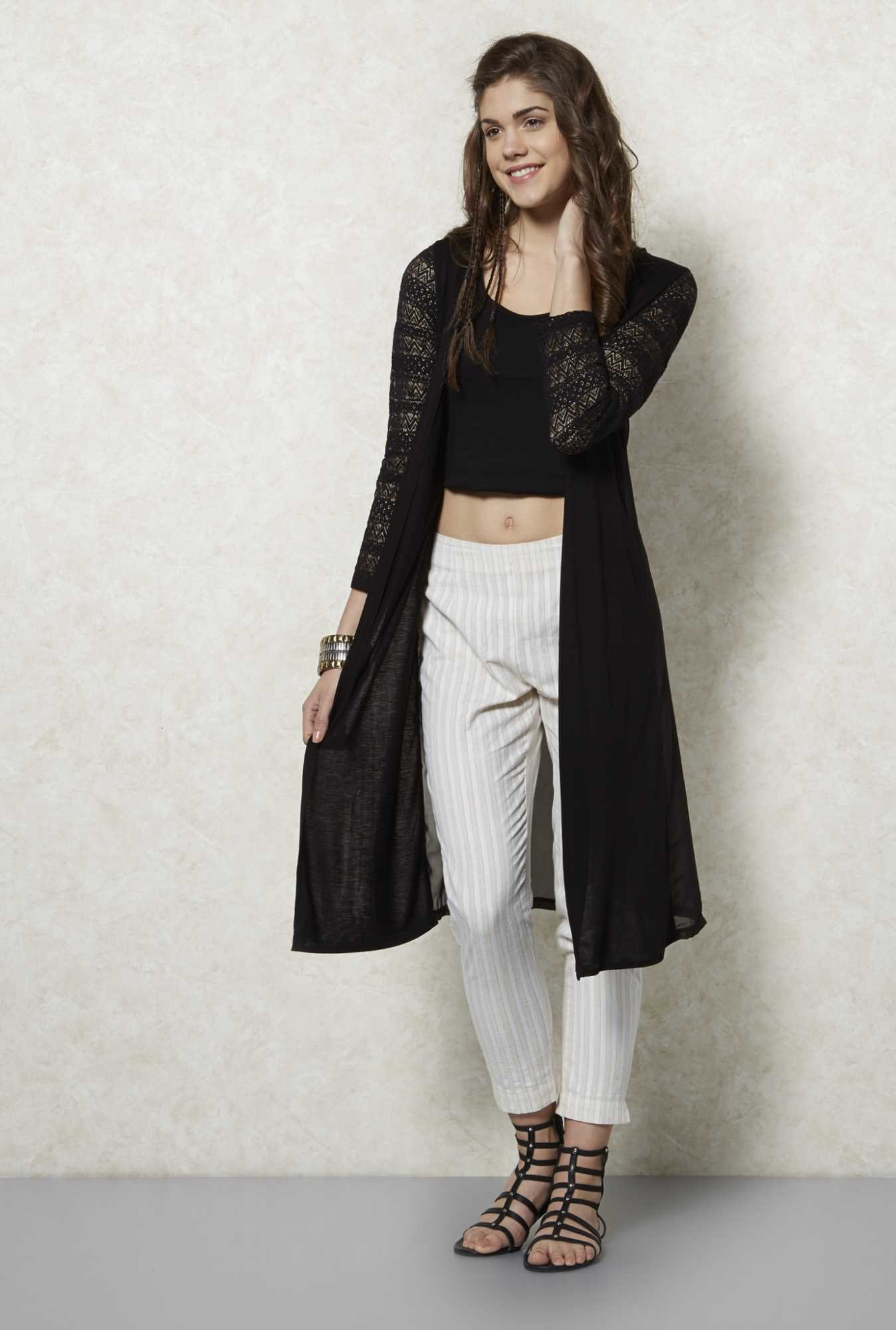 Fusion Beats Black Lace Sleeves Shrug
