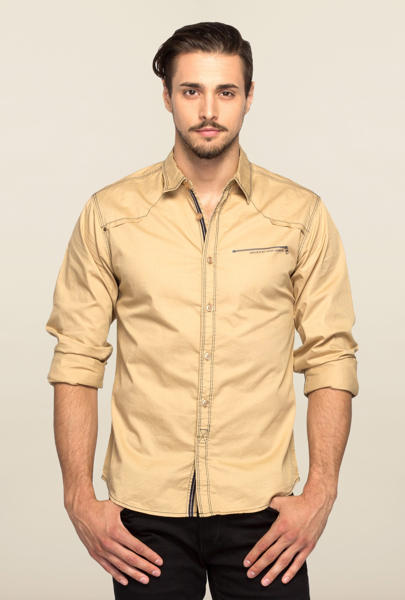 Spykar Beige Ranger Solid Slim Fit Shirt