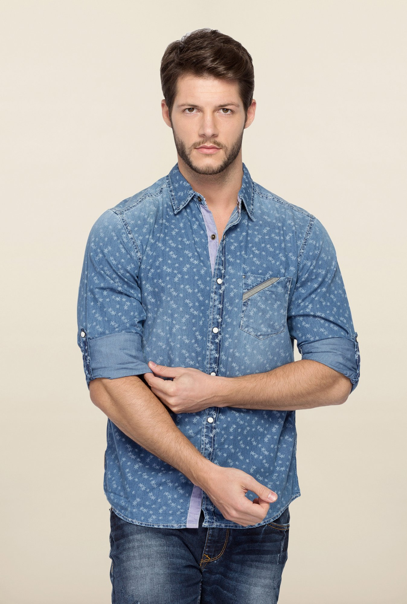 Spykar Blue Ranger Washed Printed Shirt