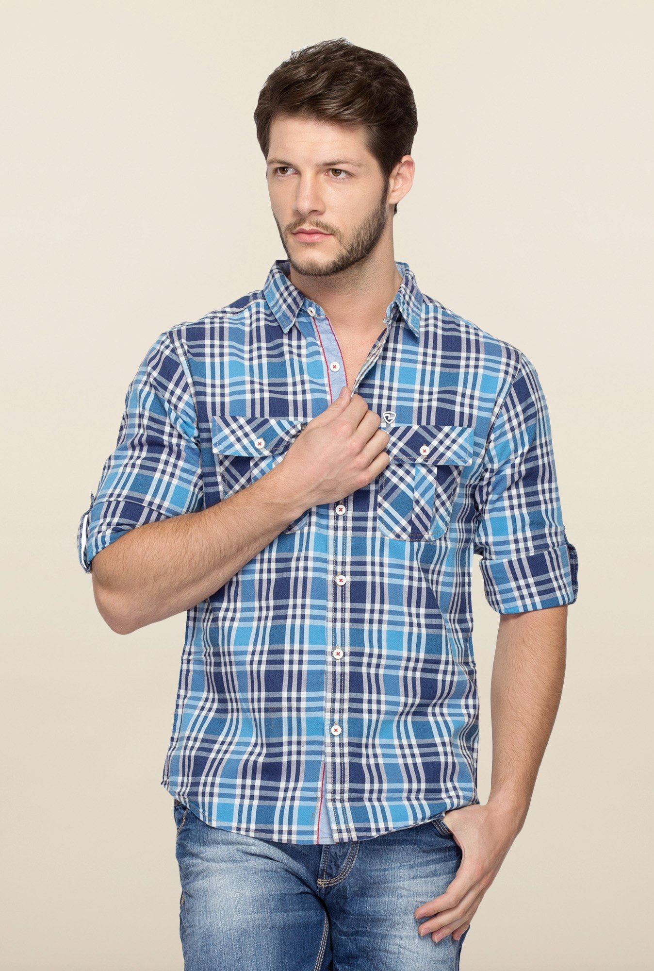 Spykar Blue Ranger Cotton Checks Shirt