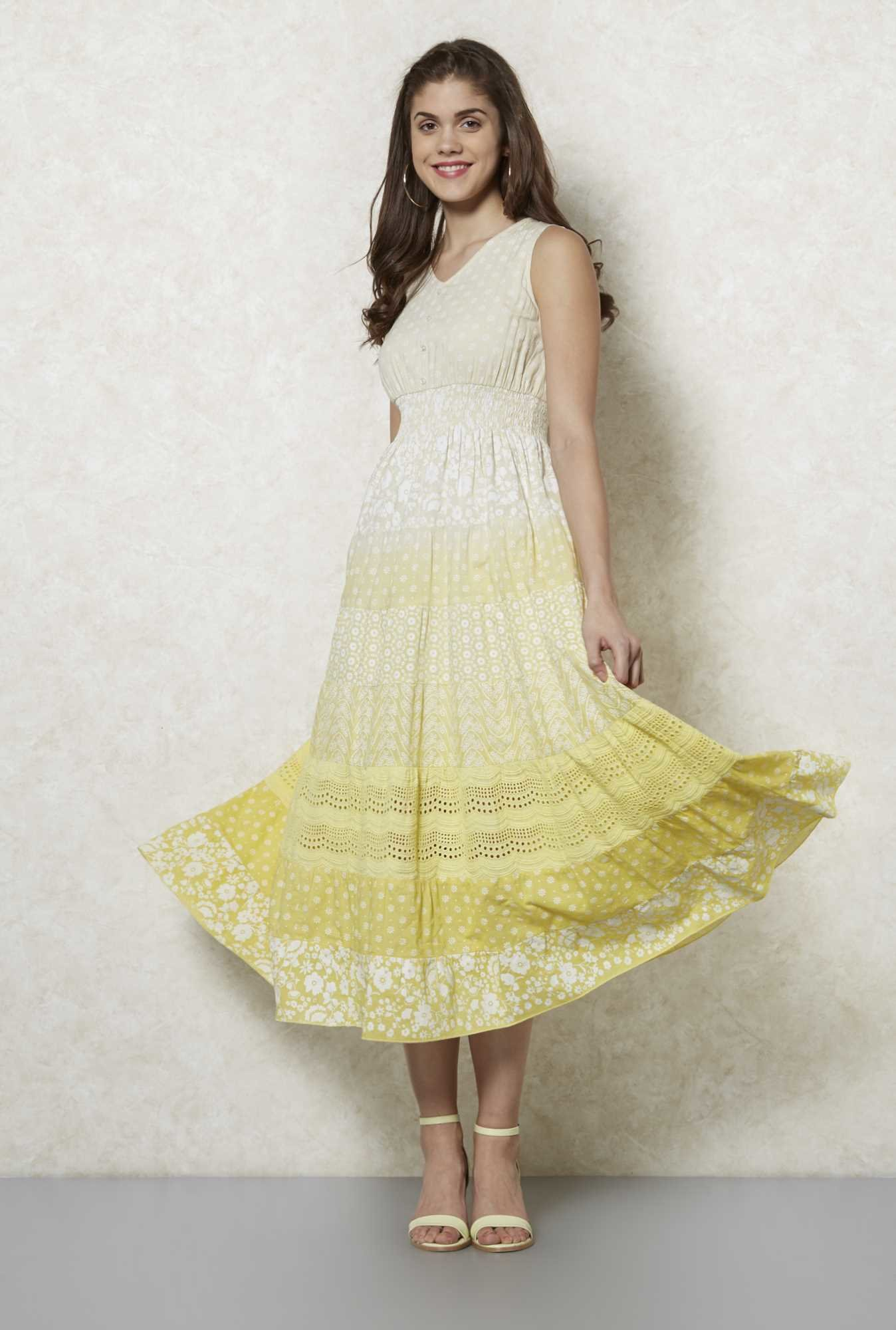 Fusion Beats Yellow Dali Printed Dress