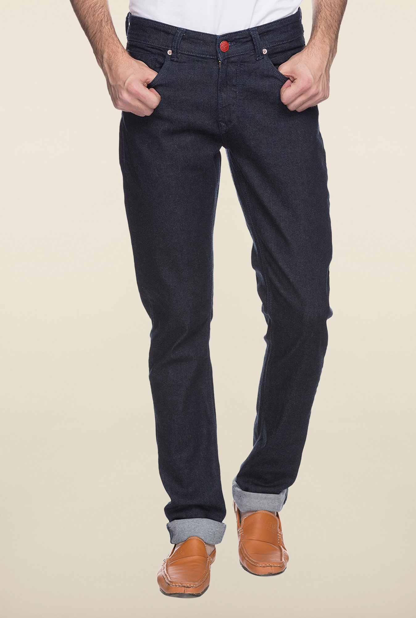 Spykar Dark Blue Straight Fit Jeans