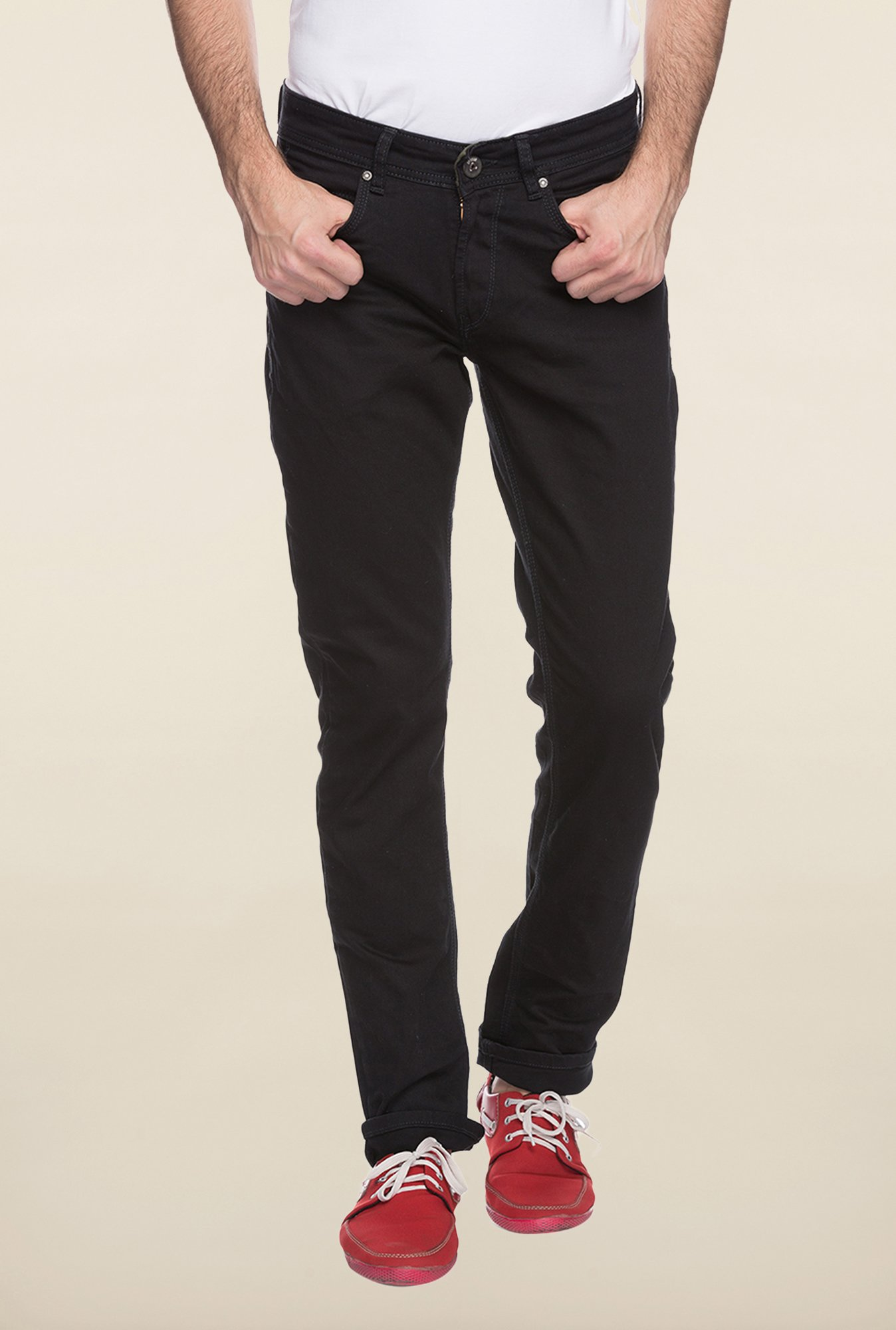 Spykar Black Straight Fit Jeans