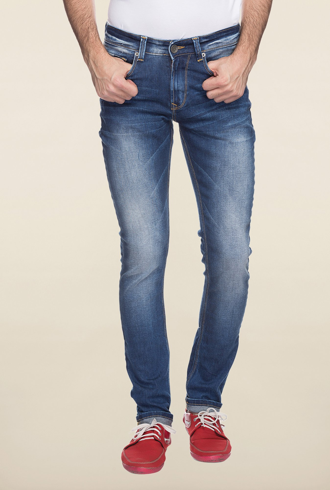 Spykar Blue Denim Slim Fit Jeans