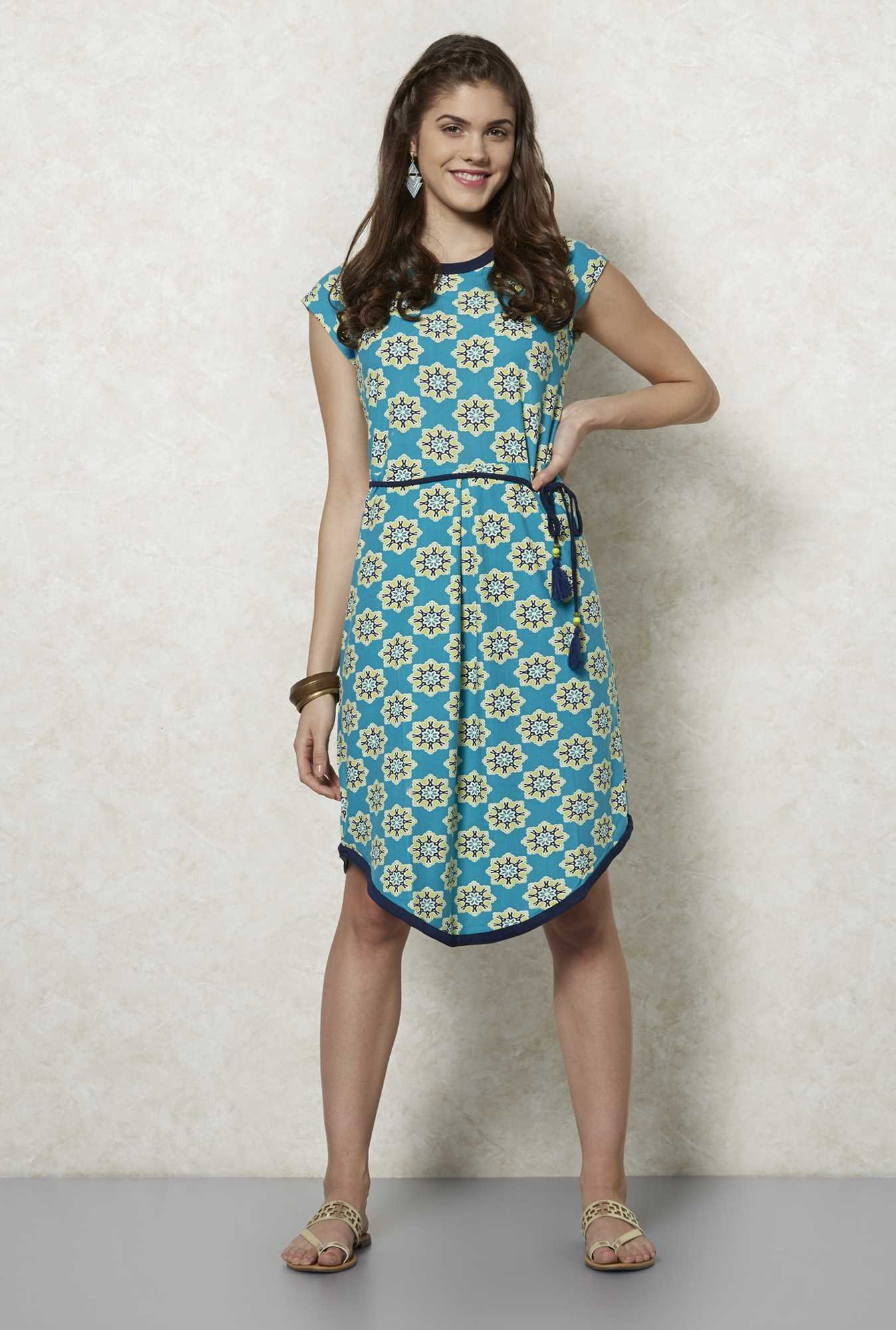 Fusion Beats Turquoise Floral Printed Dress