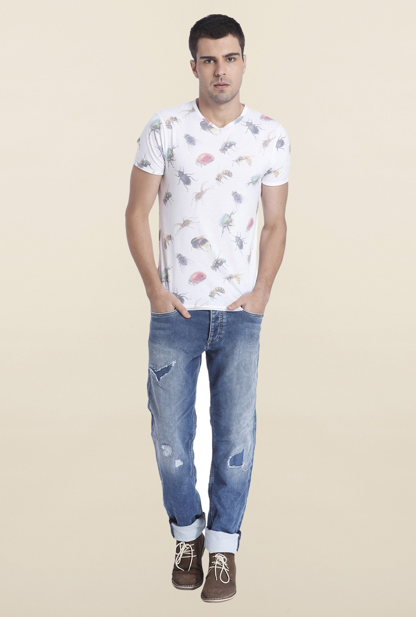 Jack & Jones White Printed Slim Fit T Shirt