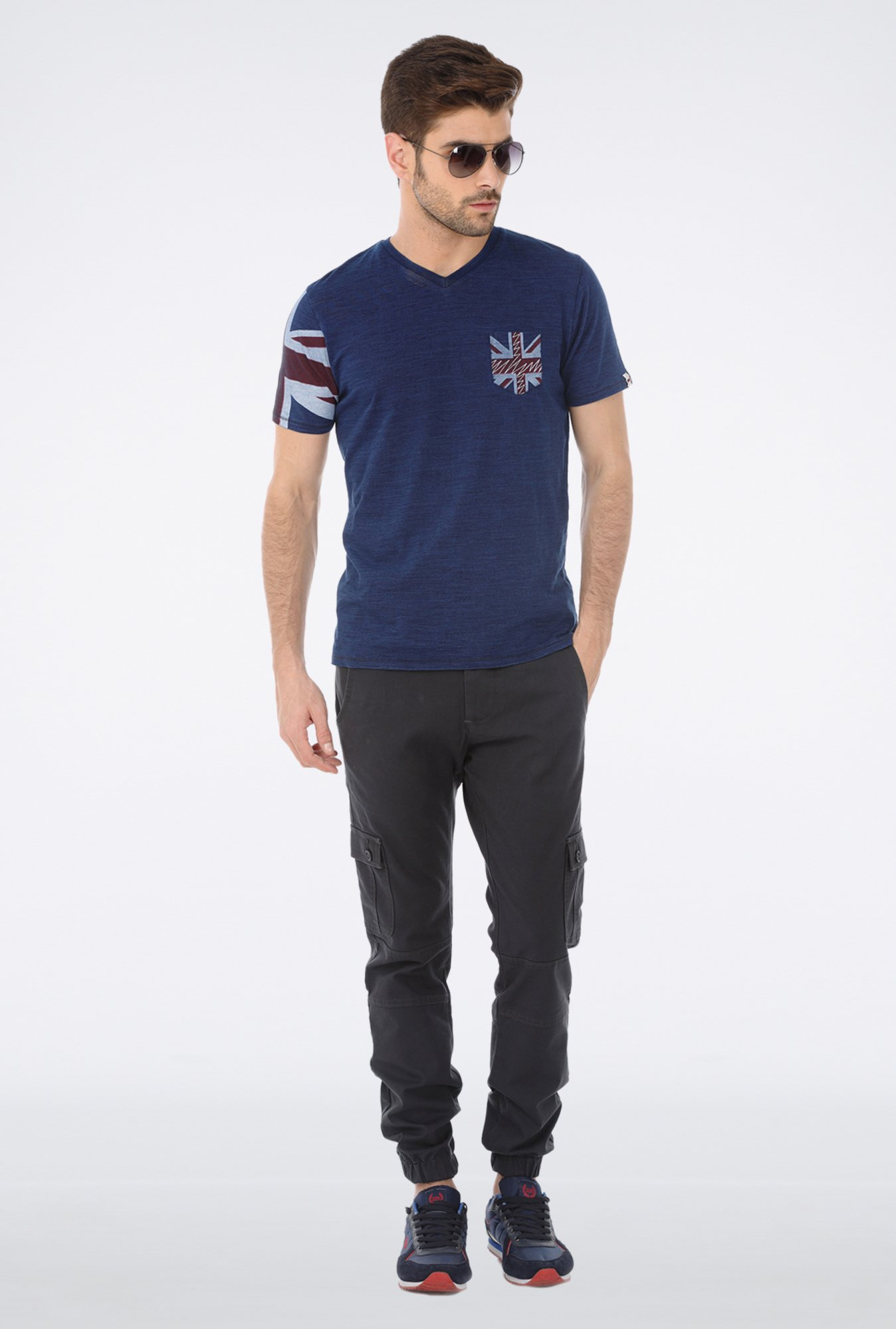 Basics Navy V neck T Shirt