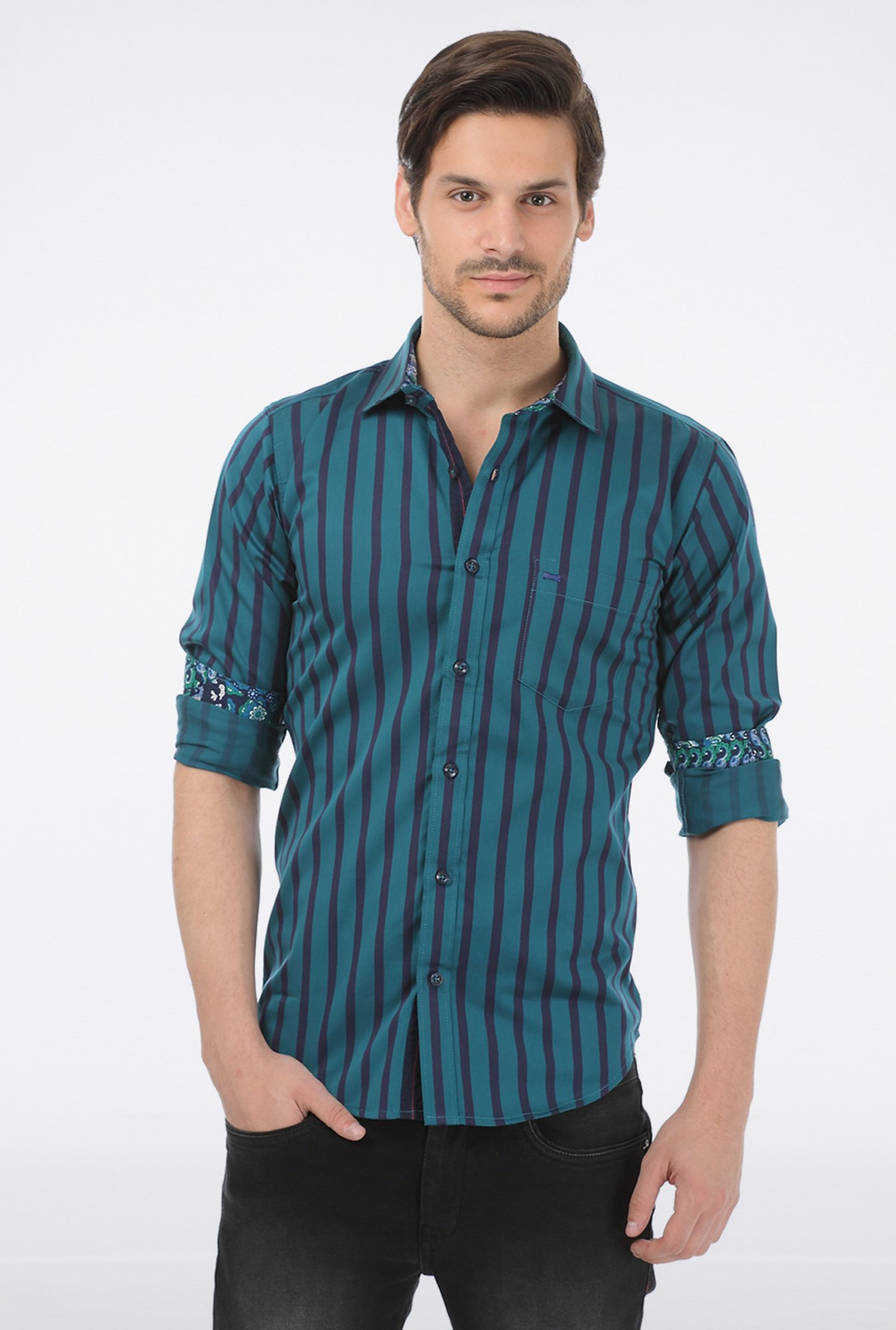 Basics Green Wide Striped Shirt