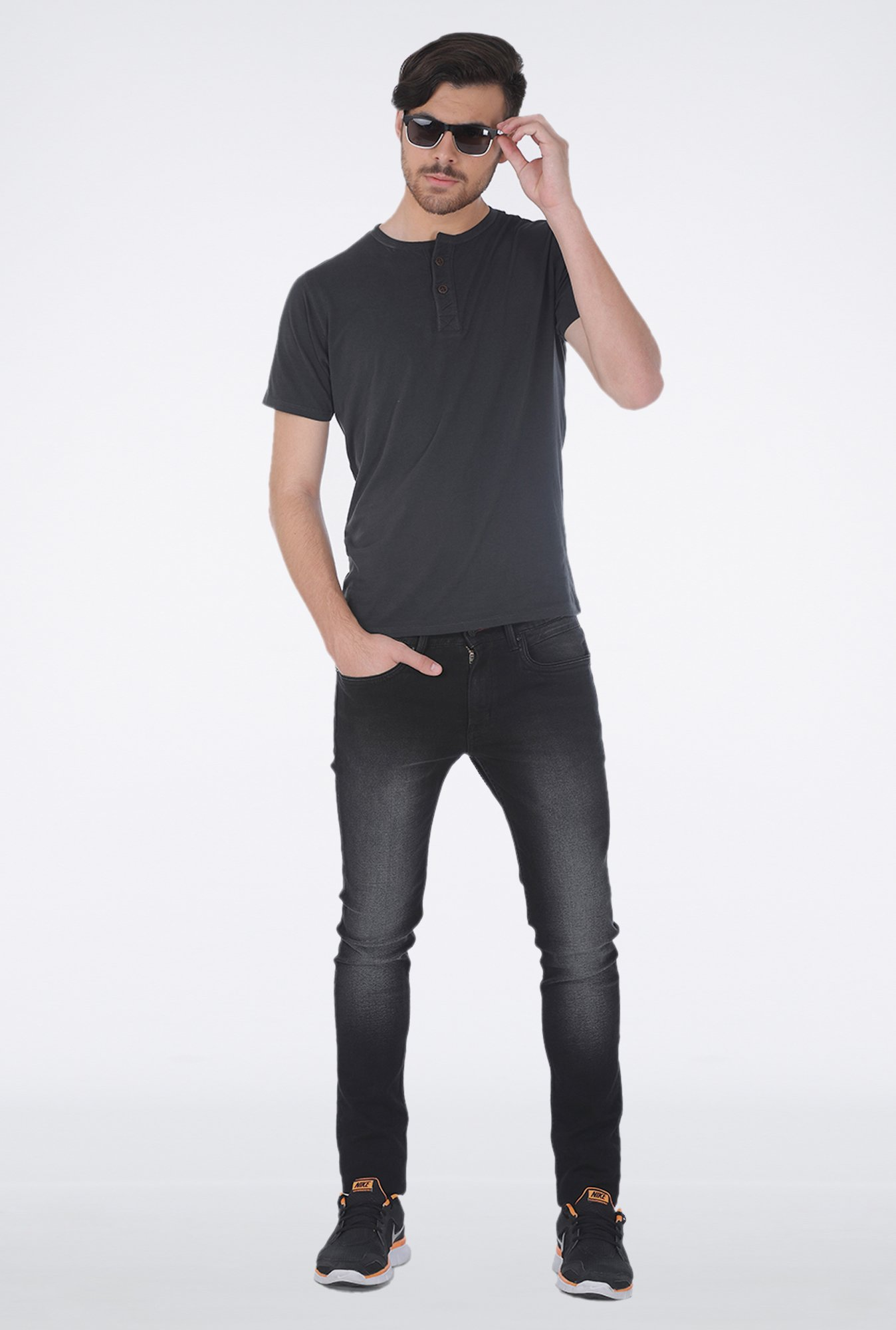 Basics Dark Grey Henley Neck T Shirt