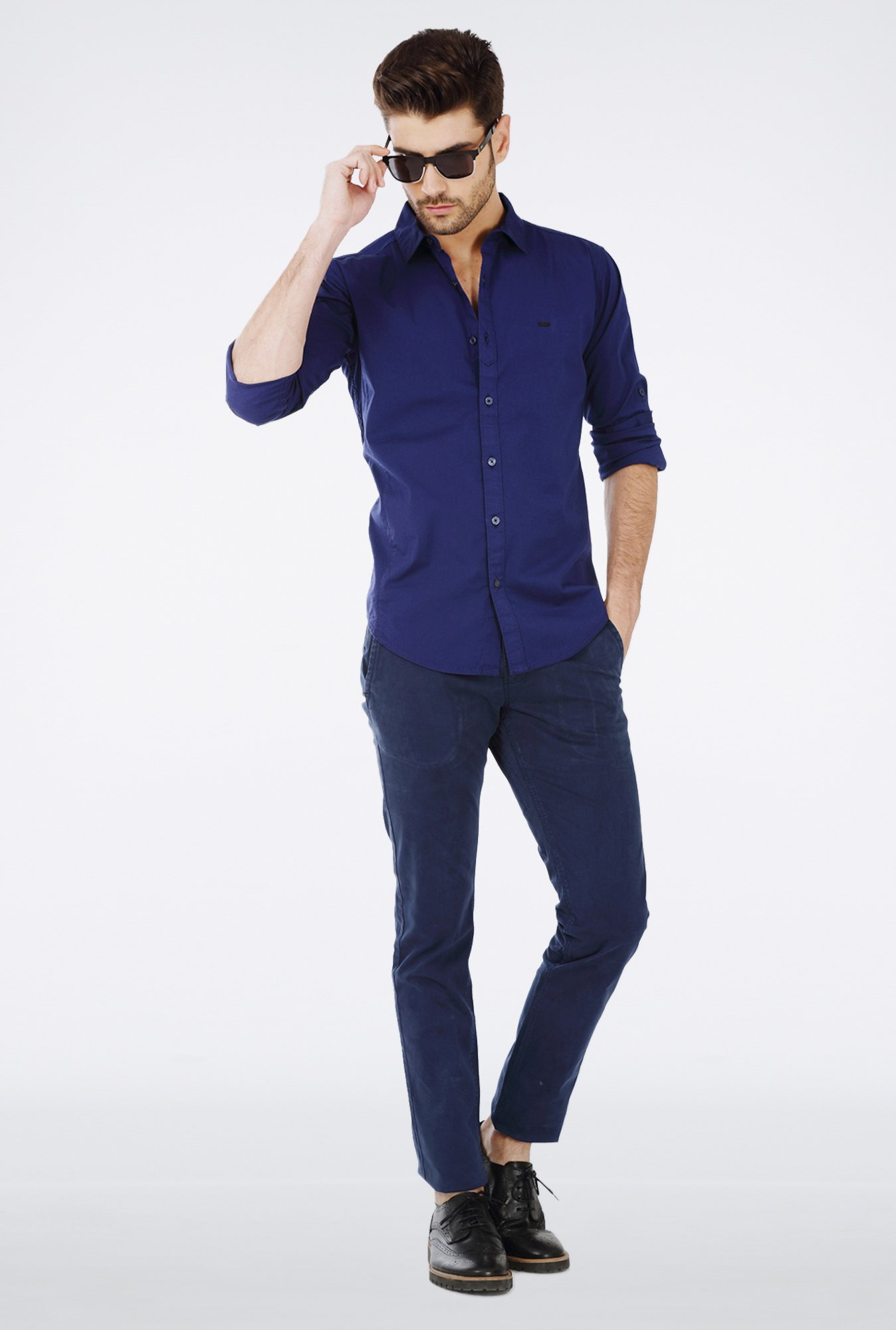 Basics Blue Cotton Casual Shirt