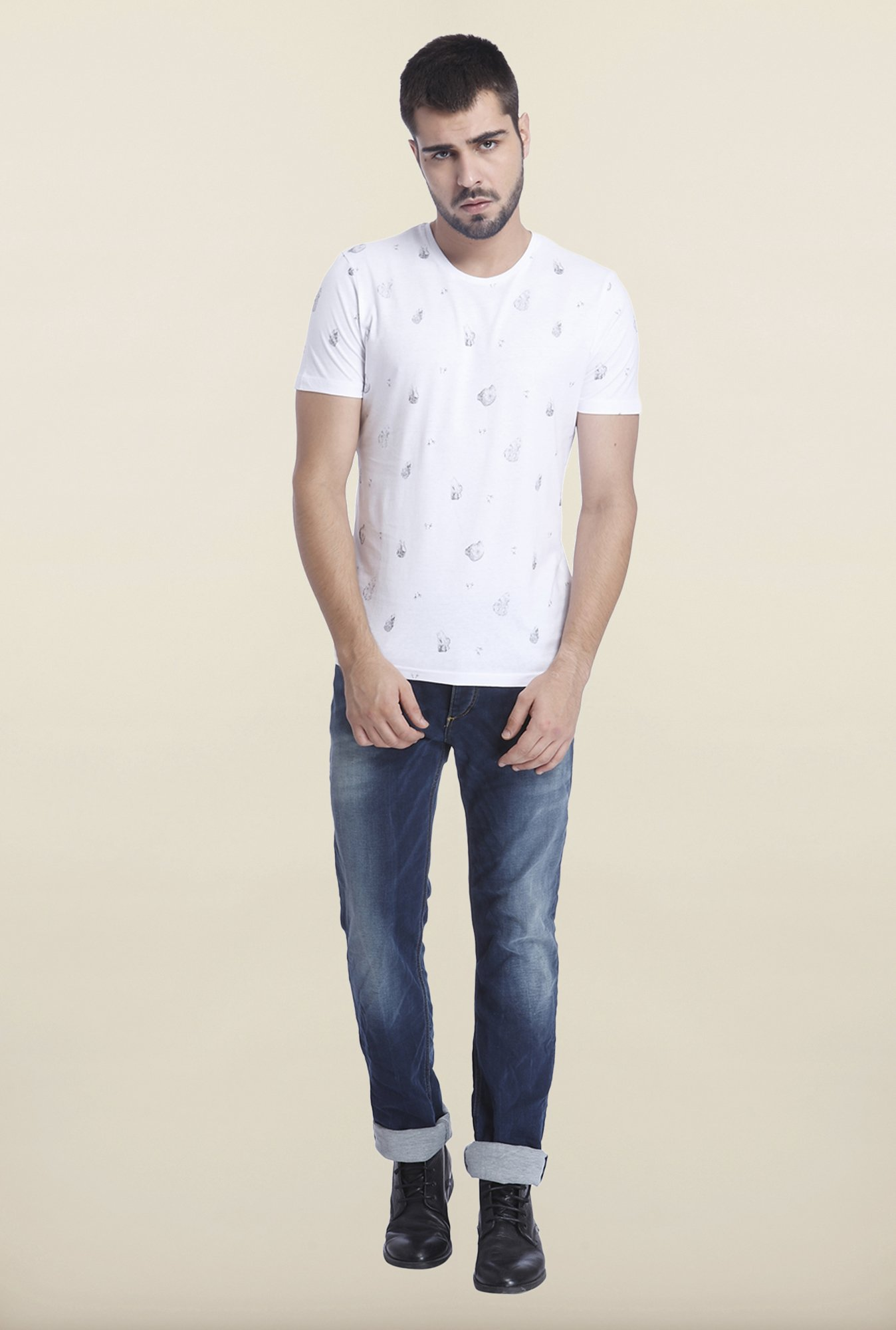 Jack & Jones White Casual Printed T Shirt