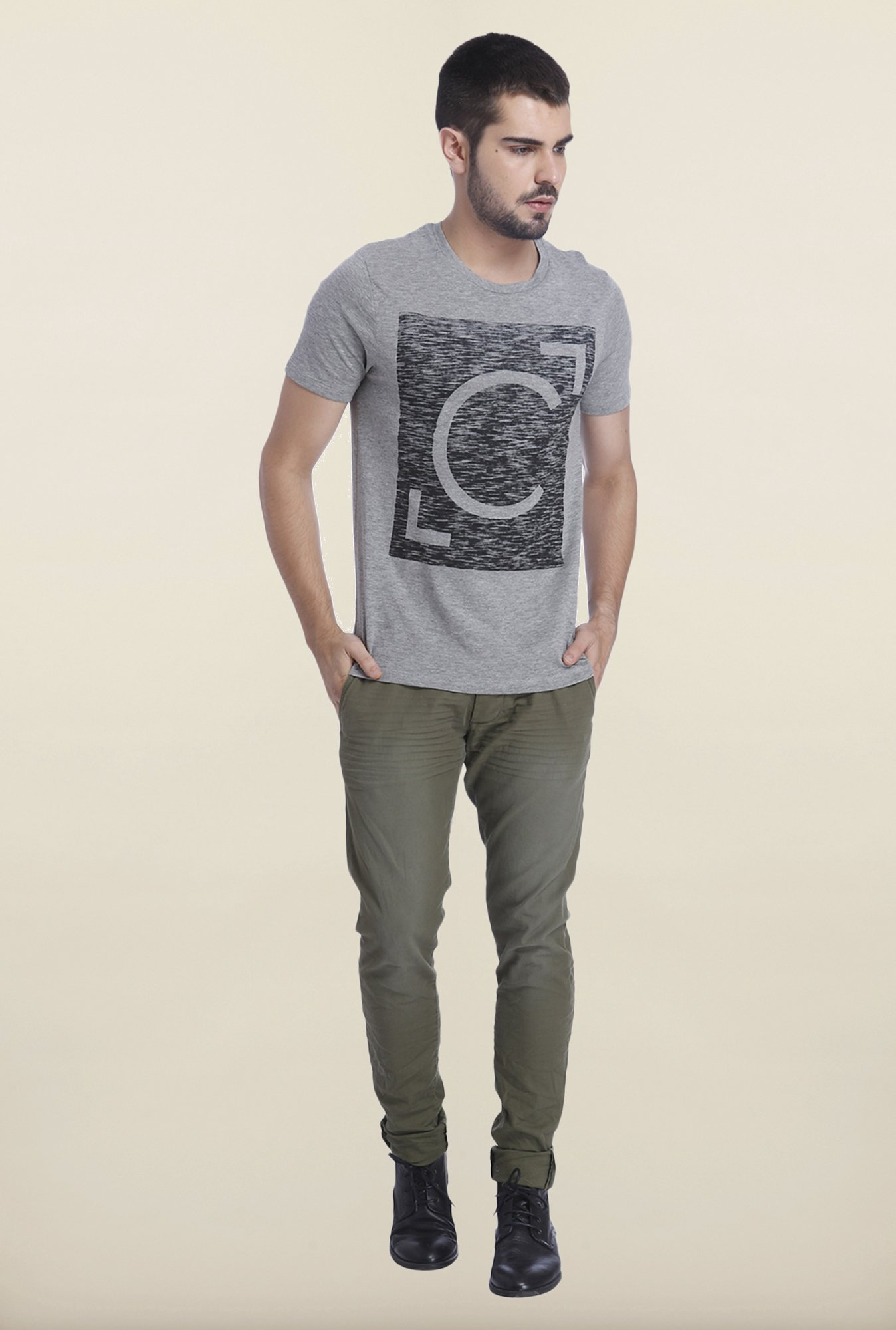 Jack & Jones Light Grey Casual Printed T Shirt