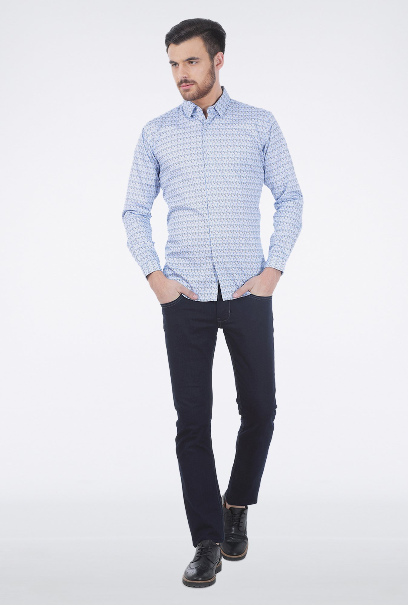 Basics Blue Eddy Printed Shirt