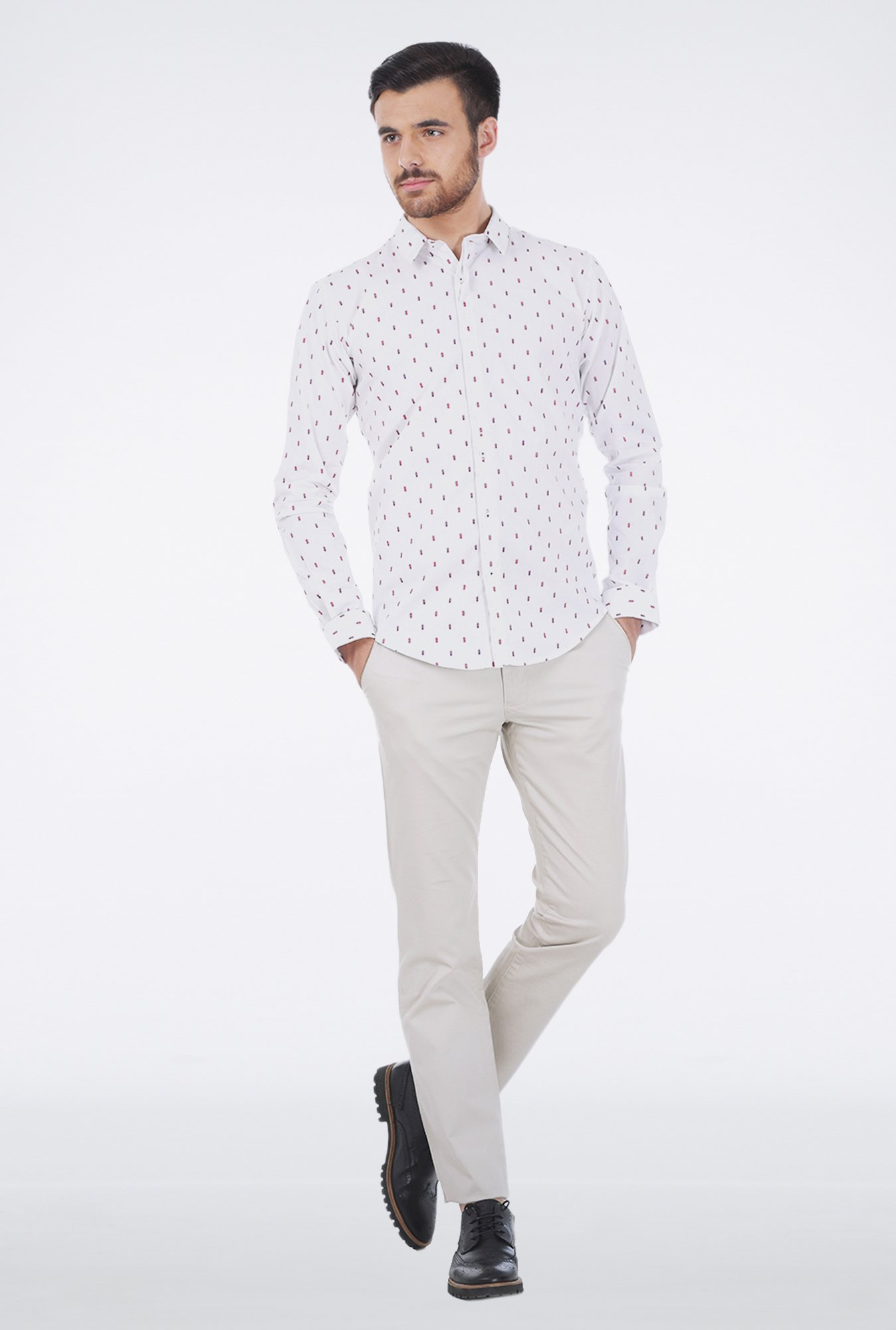 Basics White Jacquard Shirt
