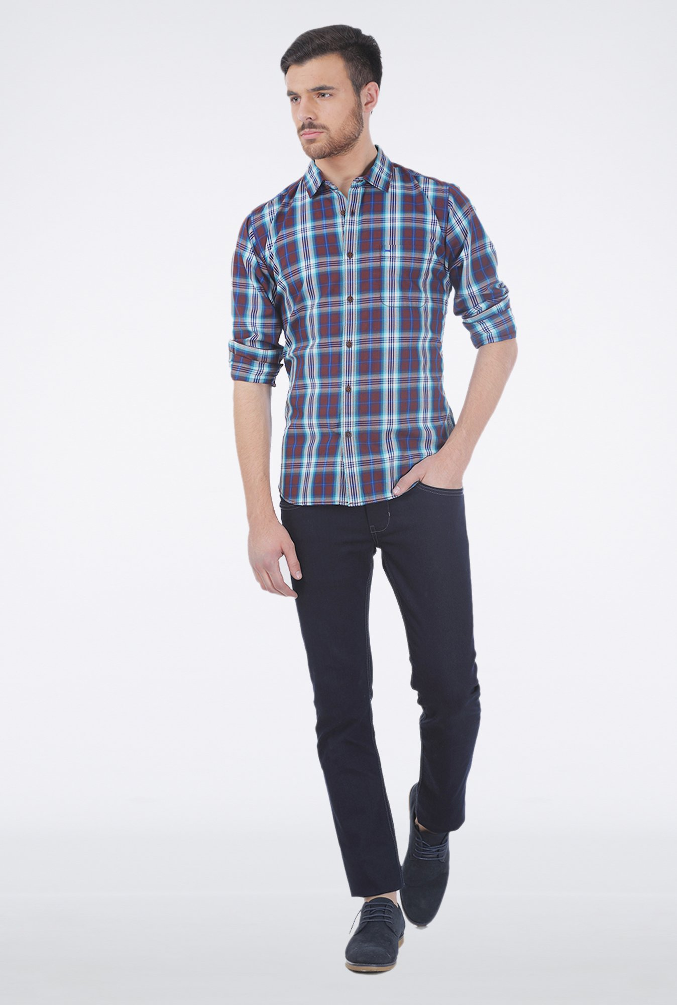 Basics Blue Checkered Casual Shirt