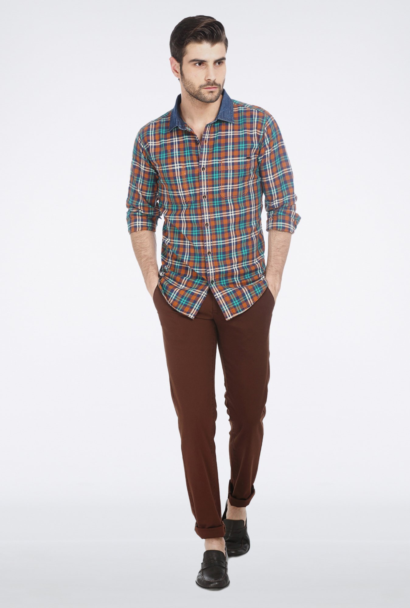 Basics Beige Plaid Shirt