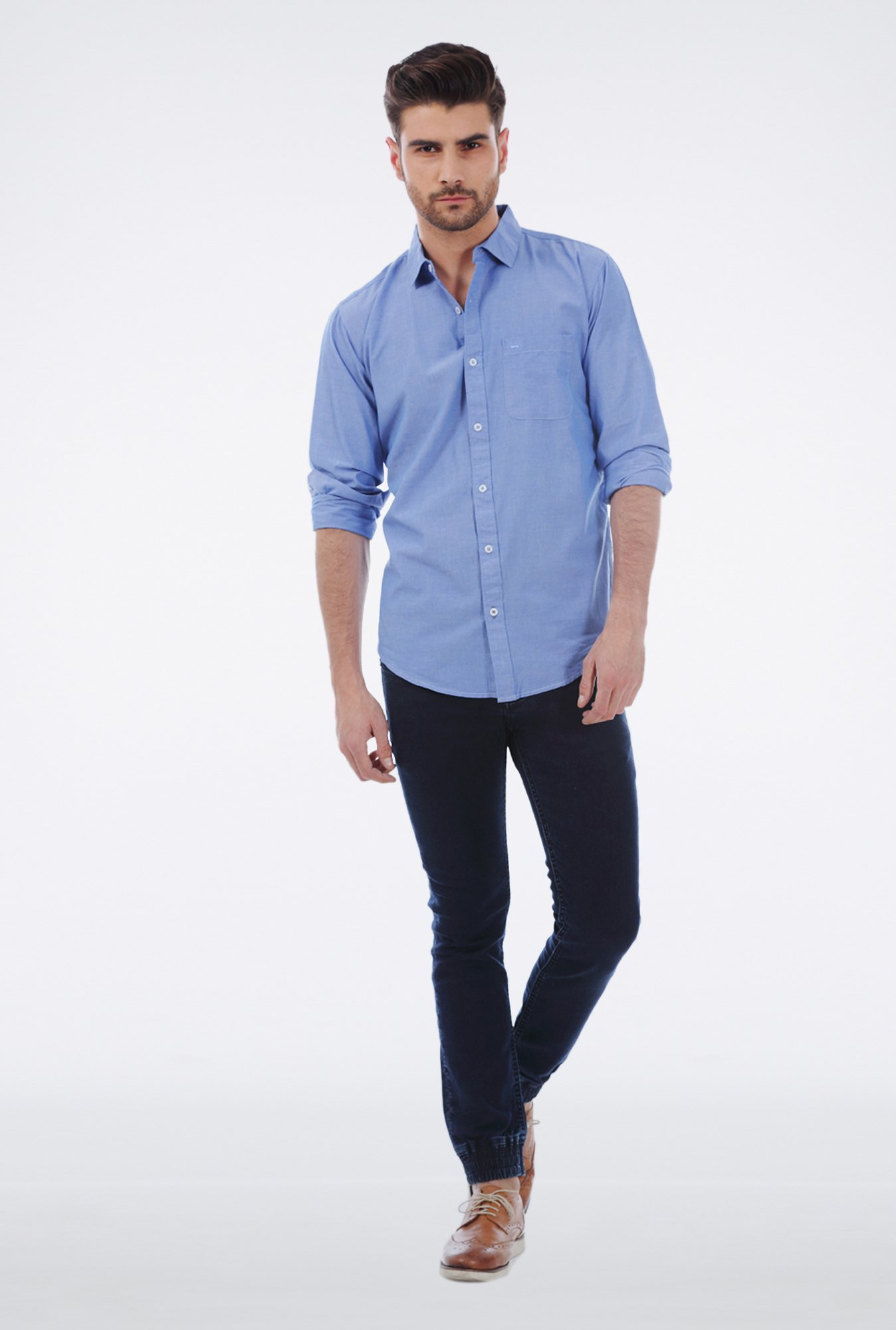 Basics Blue Chambray Cotton Shirt
