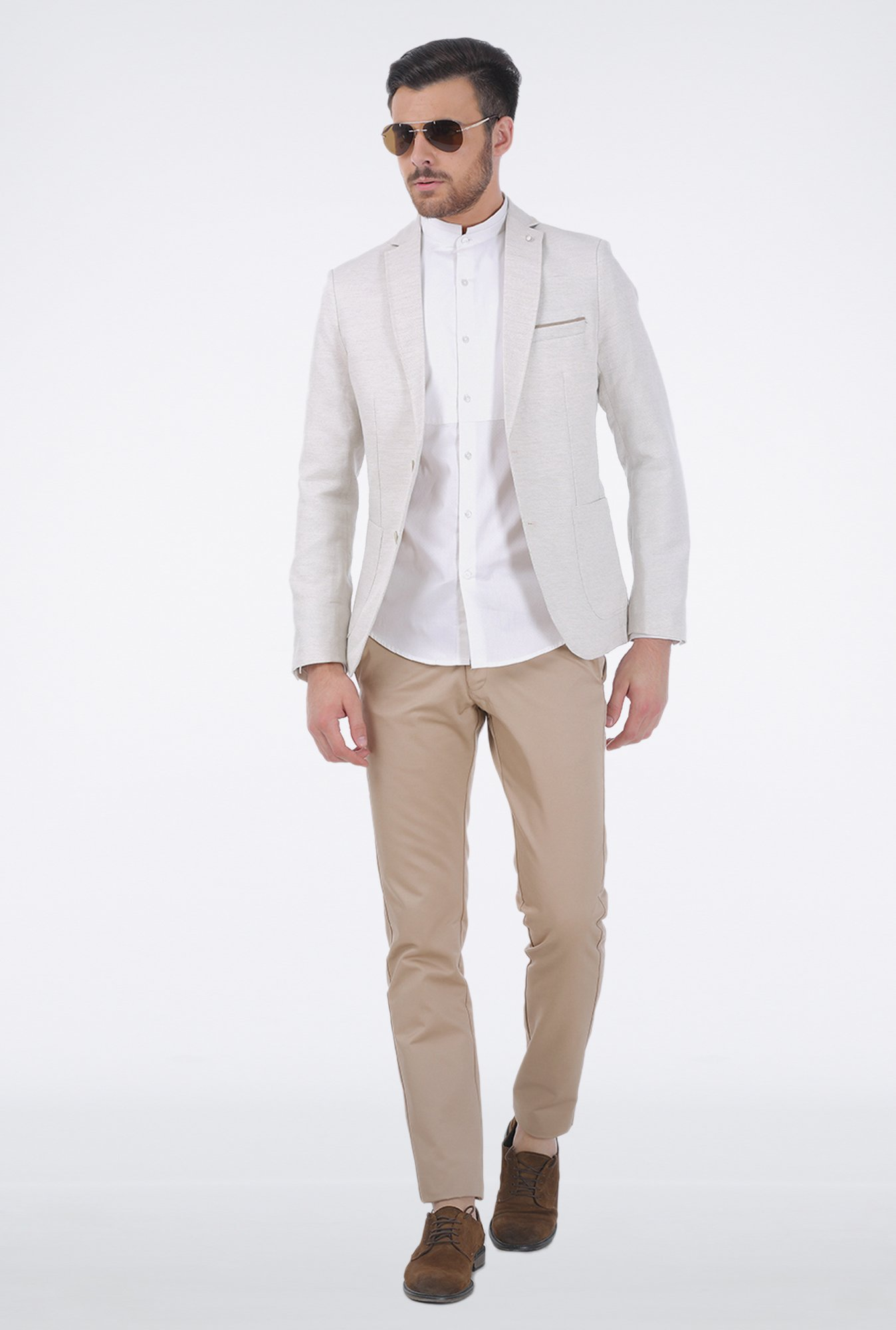 Basics Khaki Satin Formal Trouser